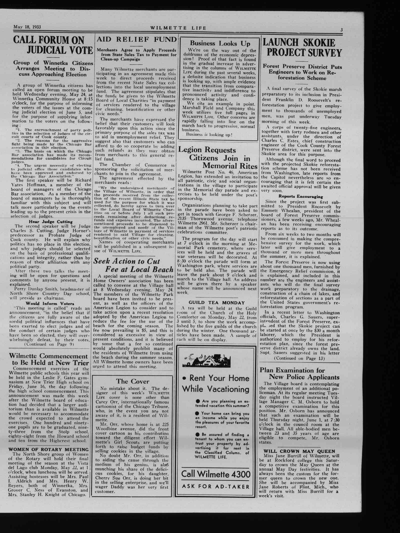 Wilmette Life (Wilmette, Illinois), 18 May 1933