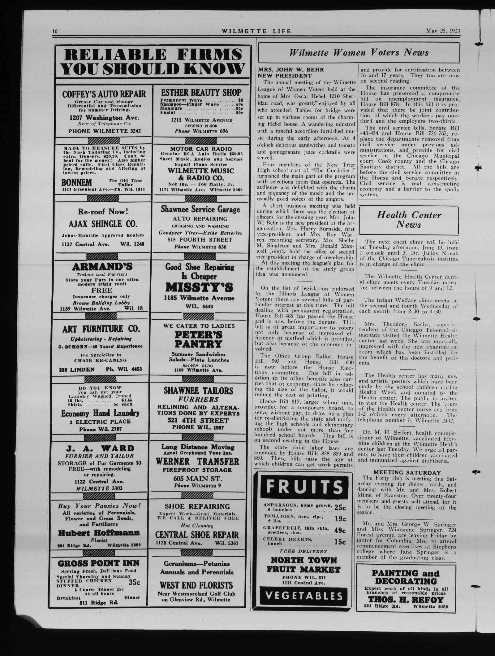 Wilmette Life (Wilmette, Illinois), 25 May 1933