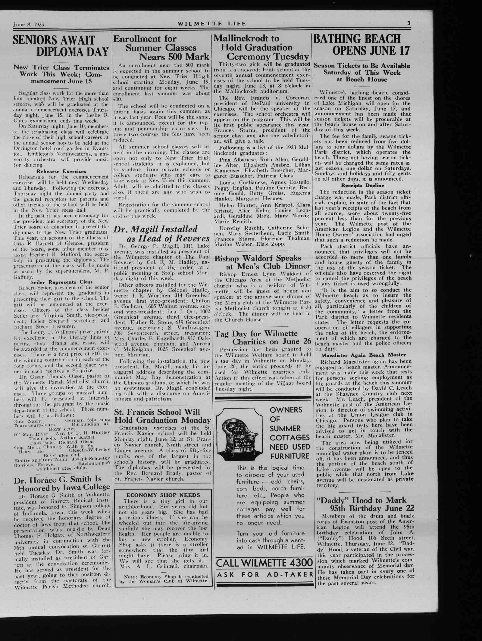 Wilmette Life (Wilmette, Illinois), 8 Jun 1933
