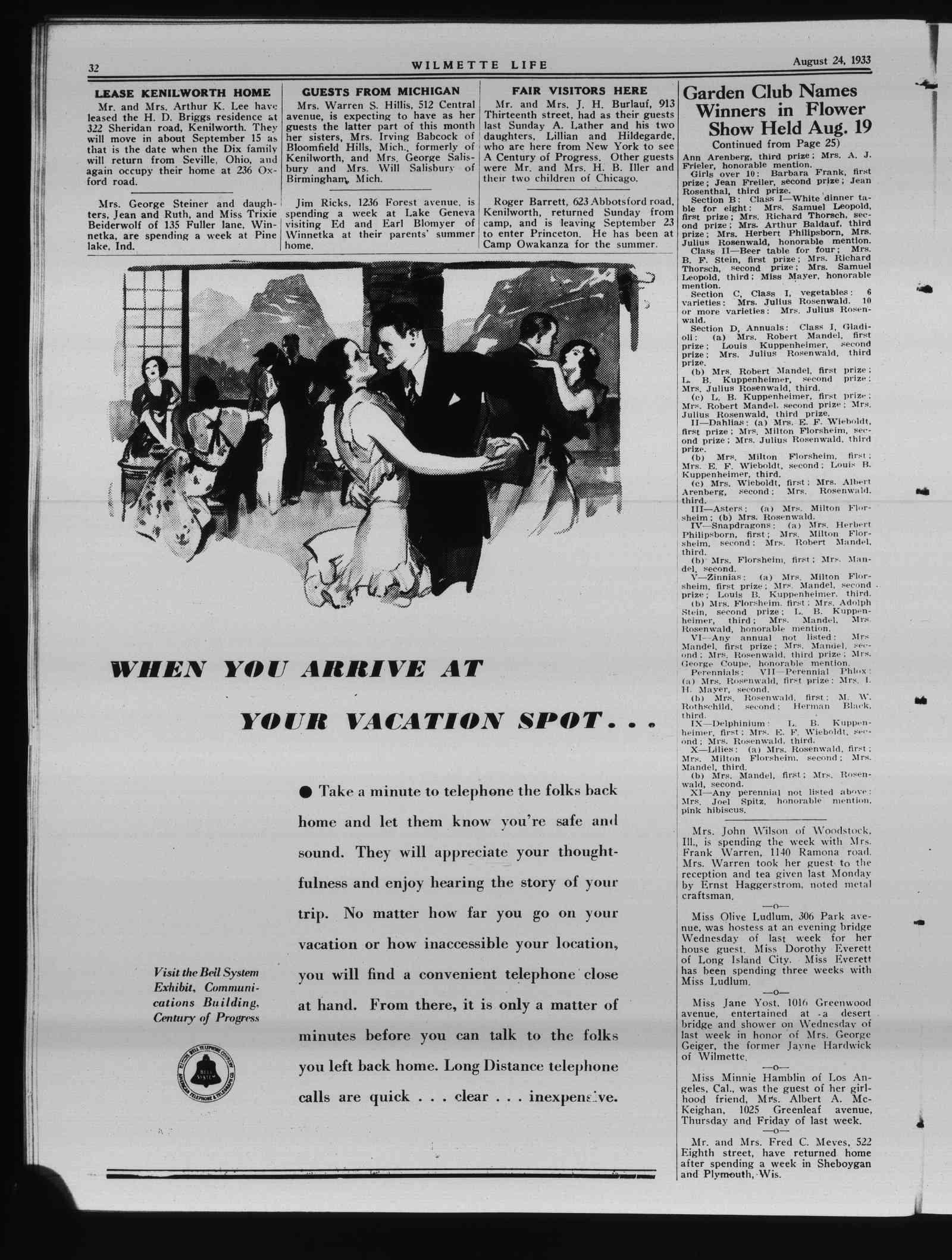Wilmette Life (Wilmette, Illinois), 24 Aug 1933