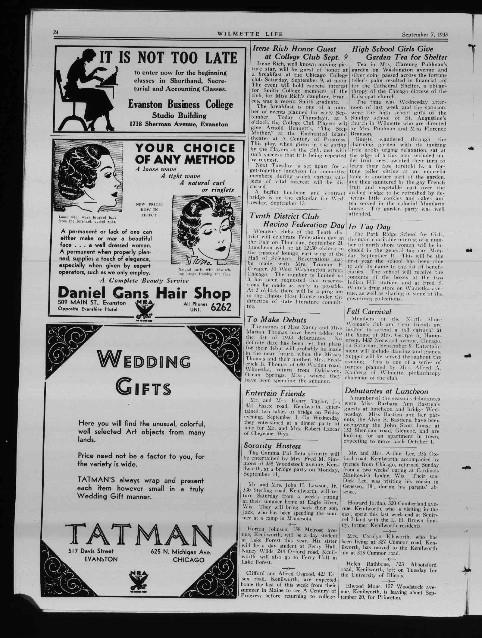 Wilmette Life (Wilmette, Illinois), 7 Sep 1933