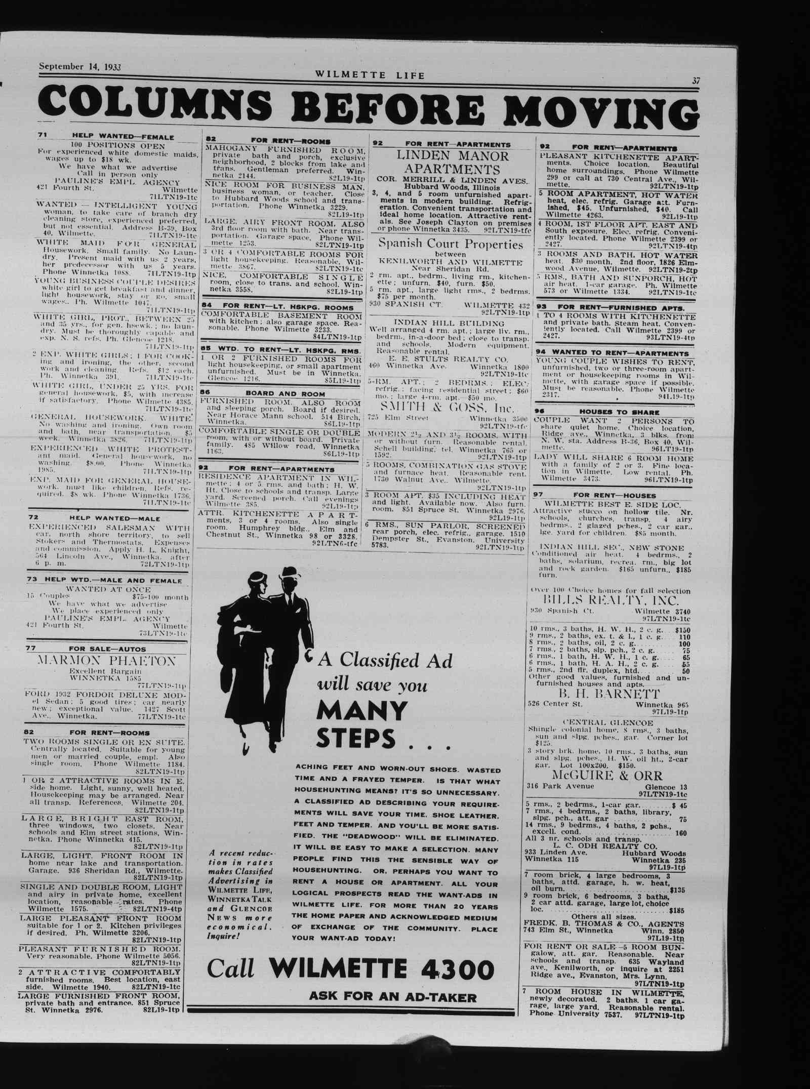 Wilmette Life (Wilmette, Illinois), 14 Sep 1933