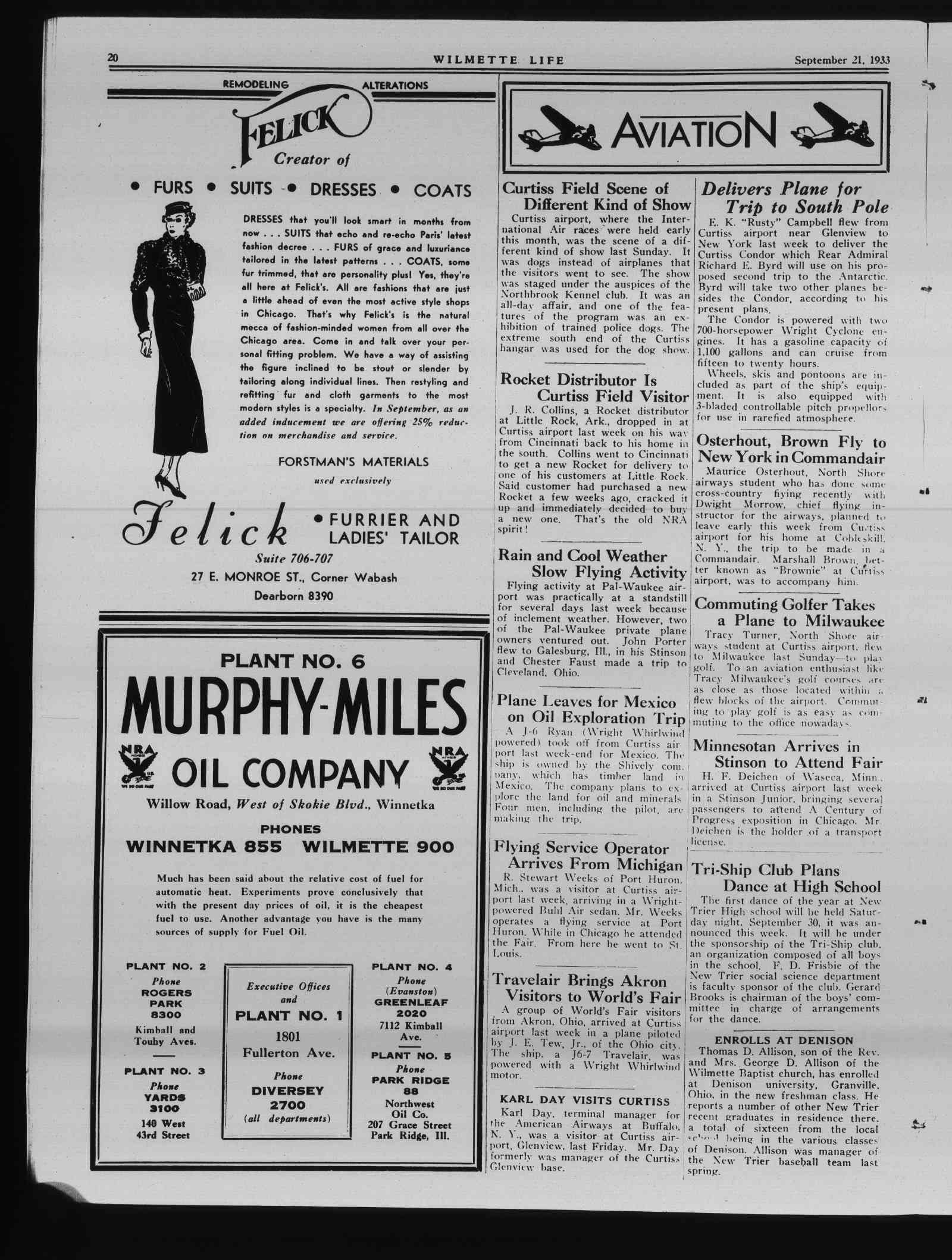 Wilmette Life (Wilmette, Illinois), 21 Sep 1933
