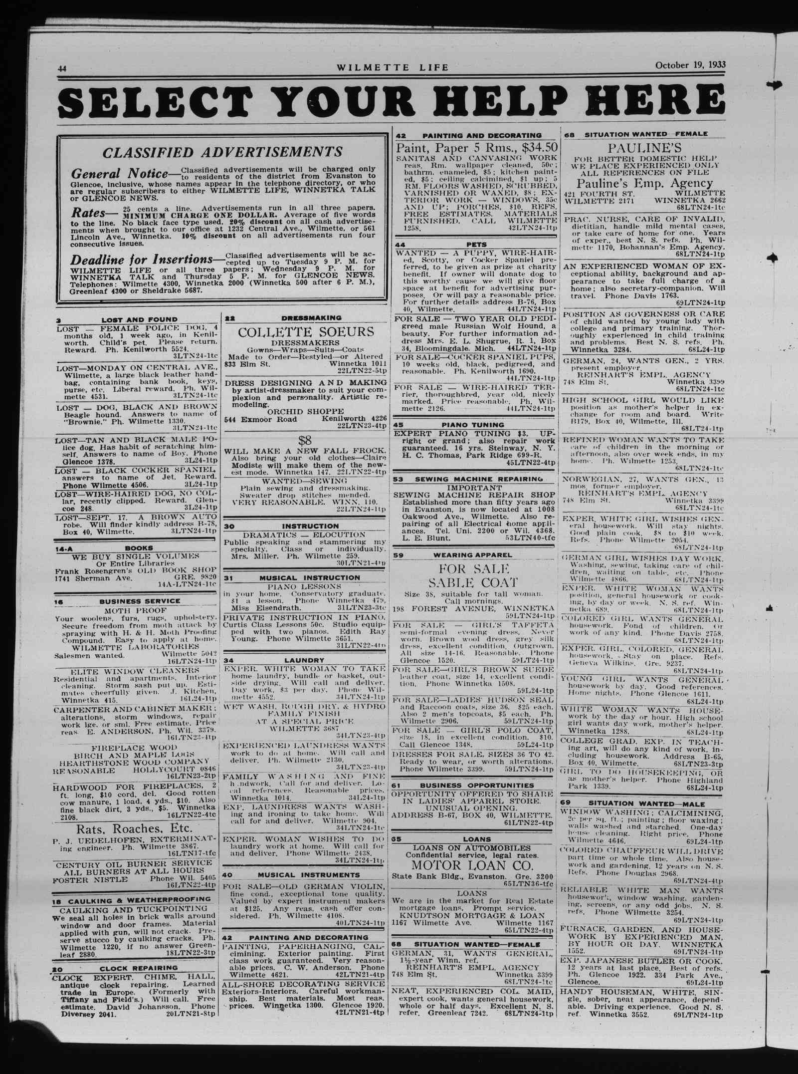 Wilmette Life (Wilmette, Illinois), 19 Oct 1933
