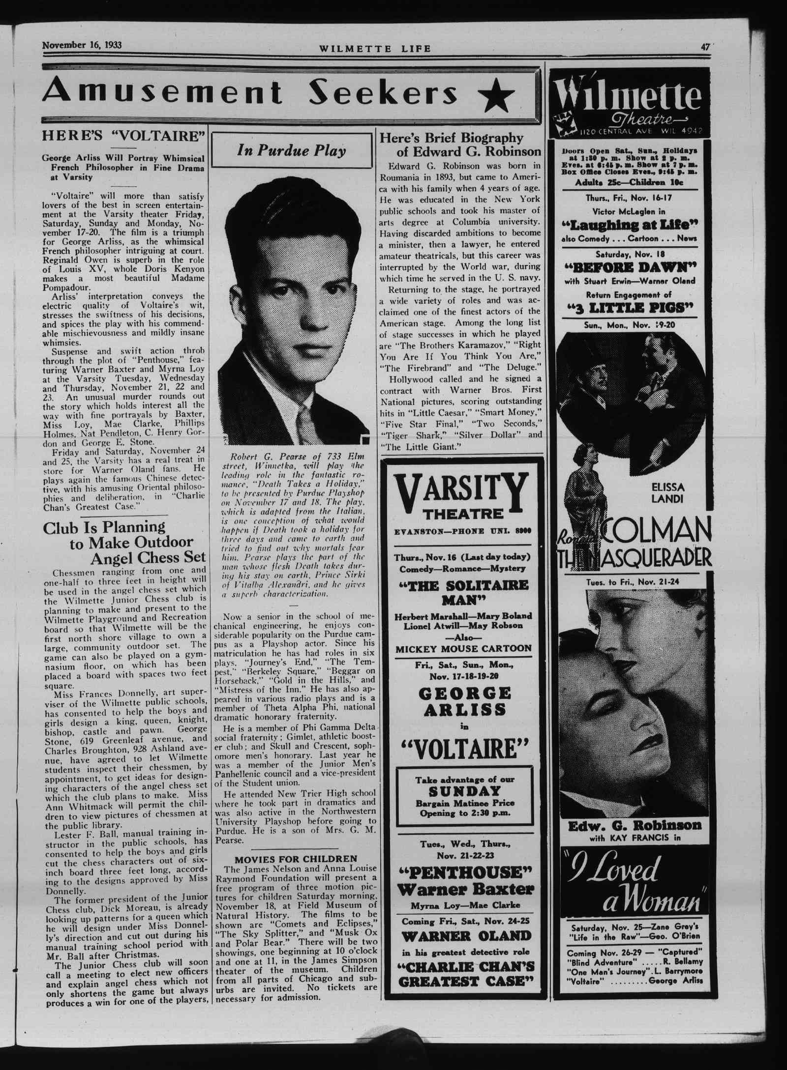 Wilmette Life (Wilmette, Illinois), 16 Nov 1933