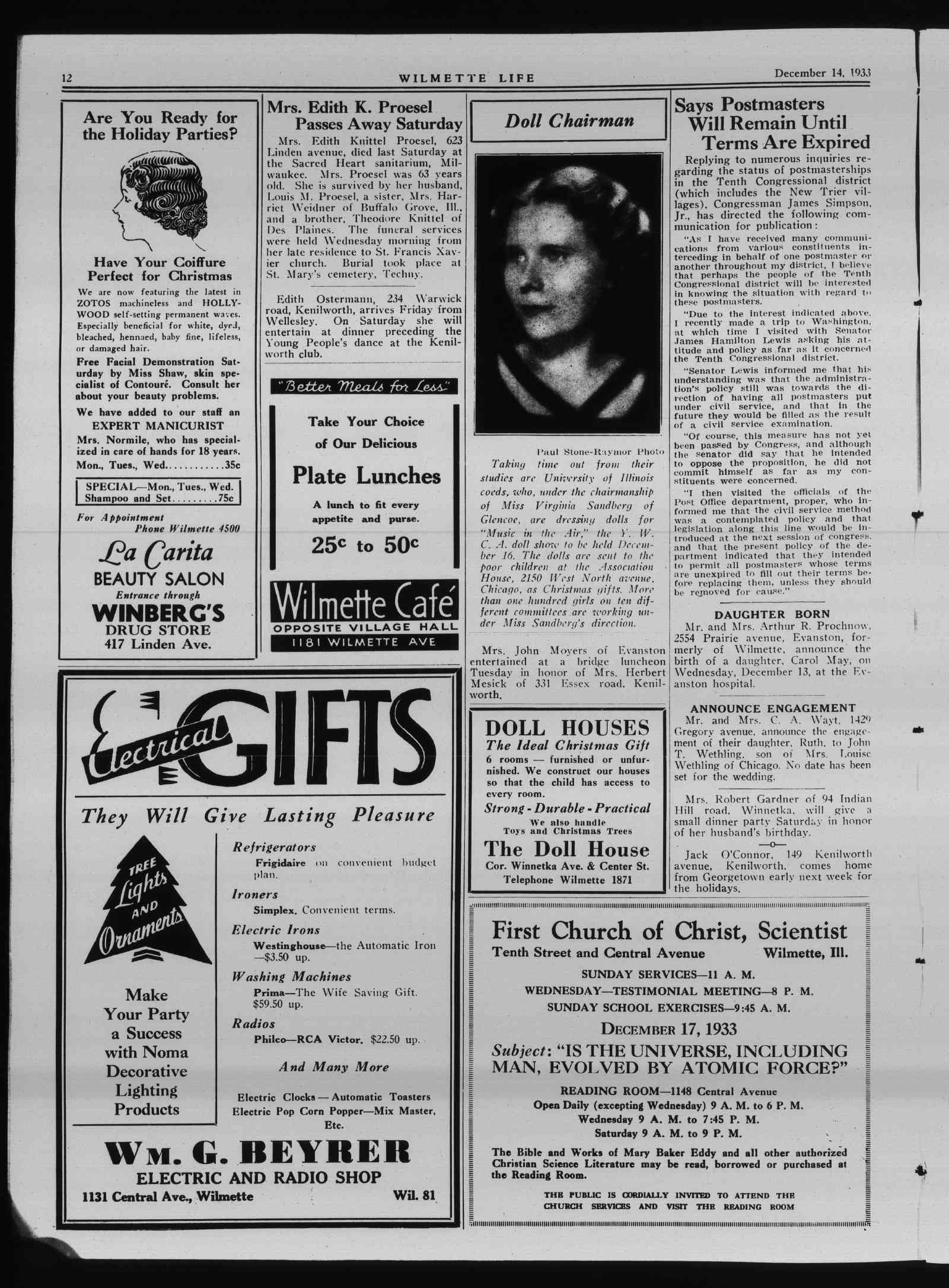 Wilmette Life (Wilmette, Illinois), 14 Dec 1933
