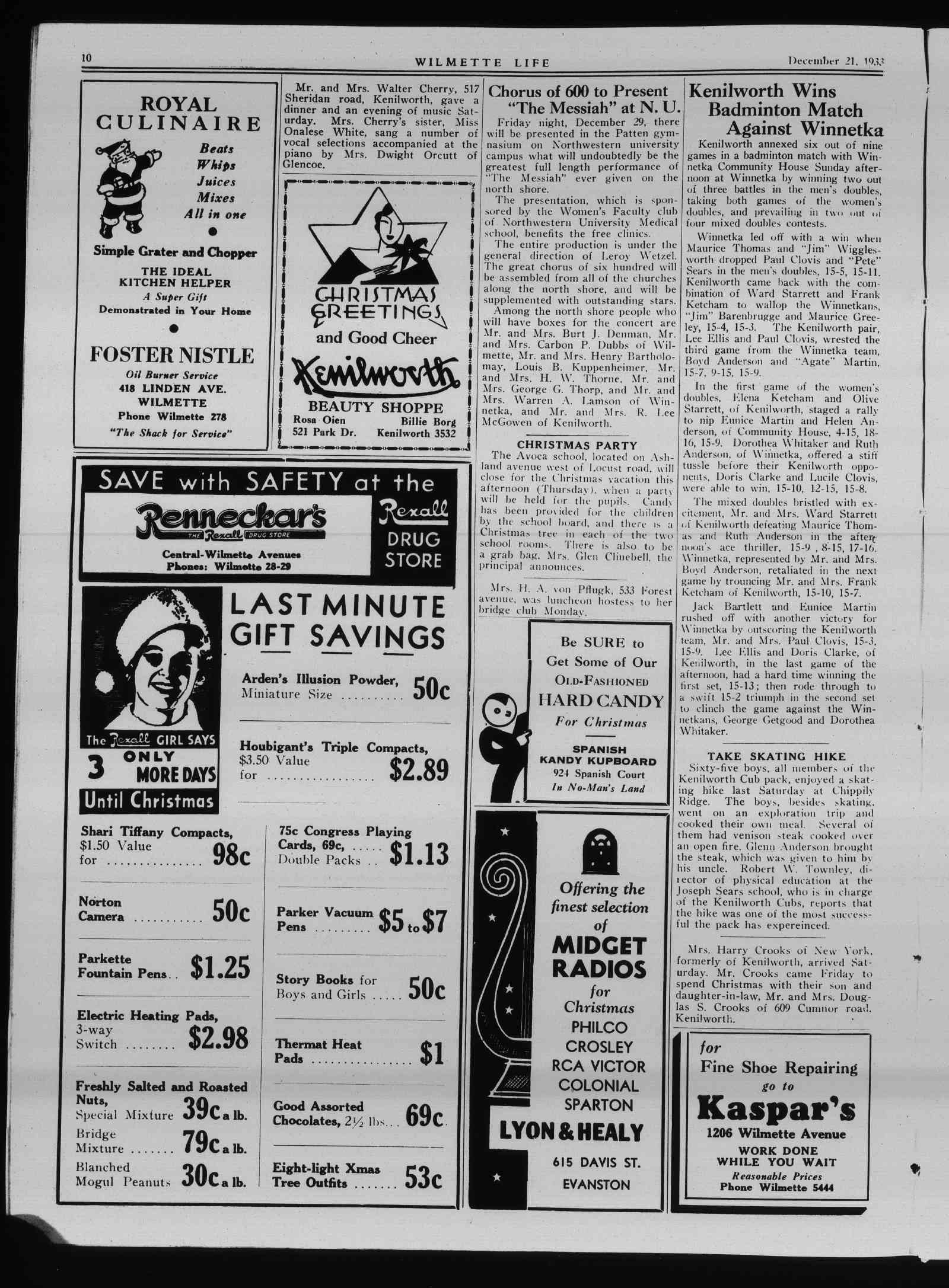 Wilmette Life (Wilmette, Illinois), 21 Dec 1933