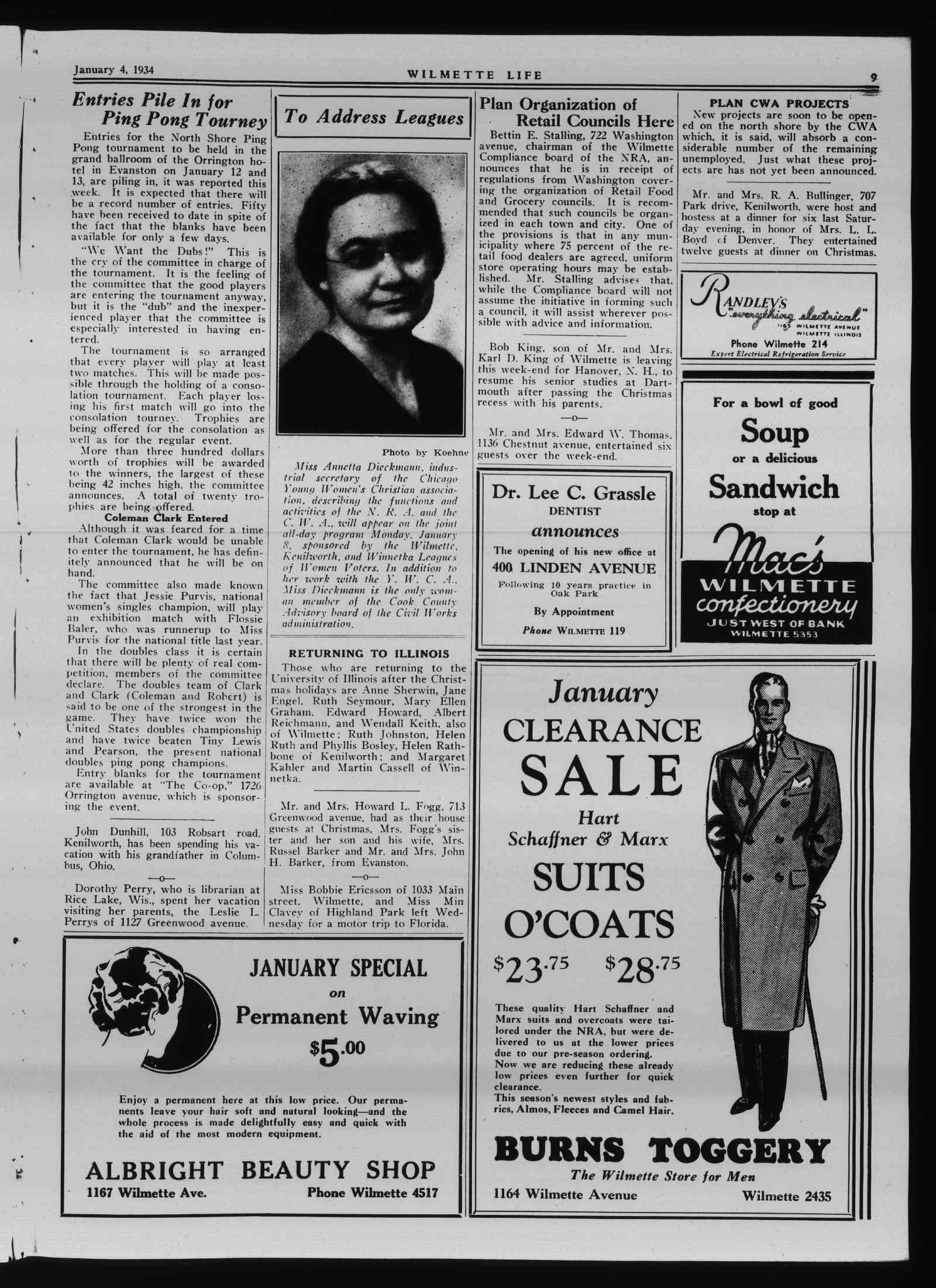 Wilmette Life (Wilmette, Illinois), 4 Jan 1934