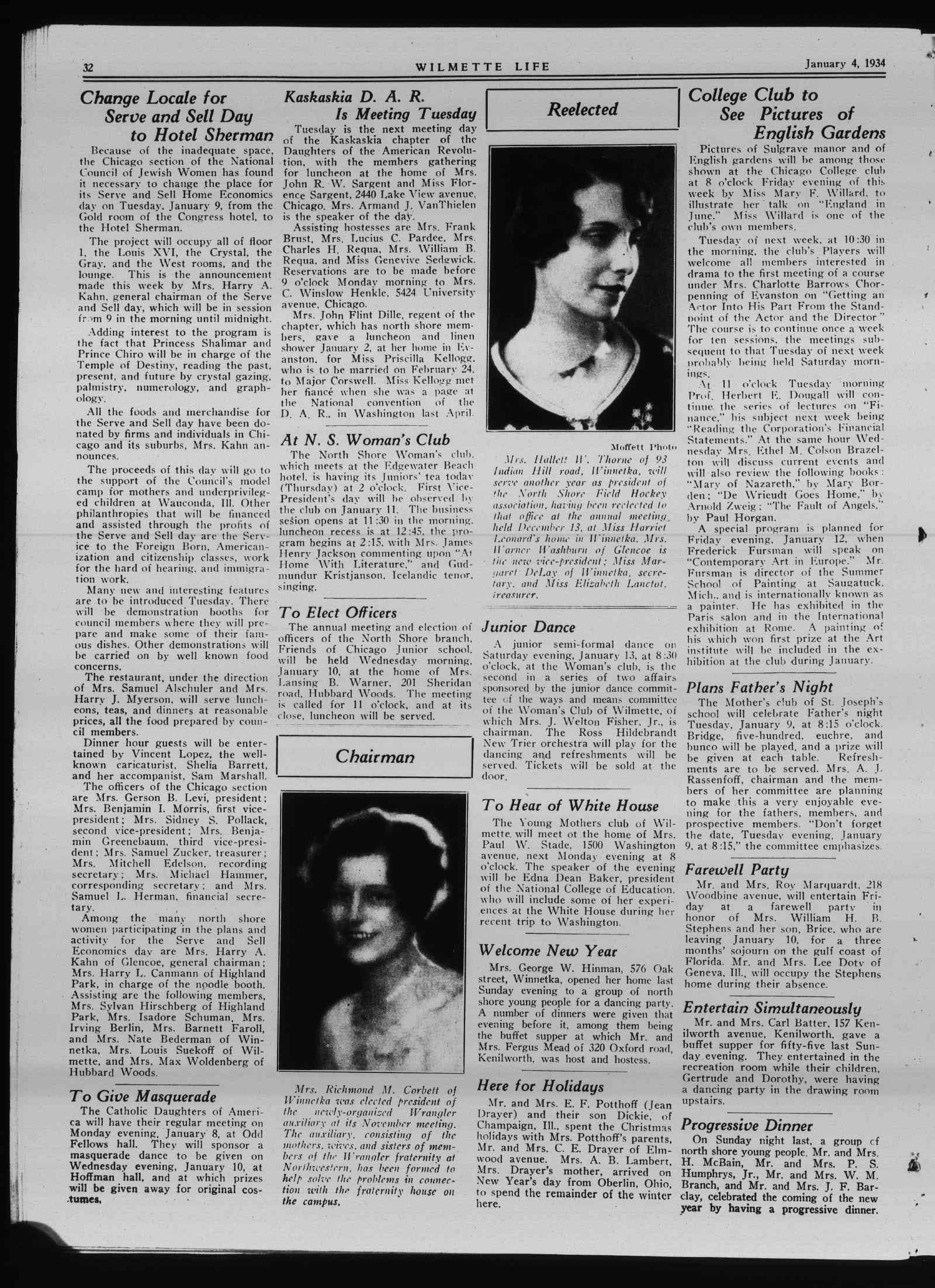 Wilmette Life (Wilmette, Illinois), 4 Jan 1934