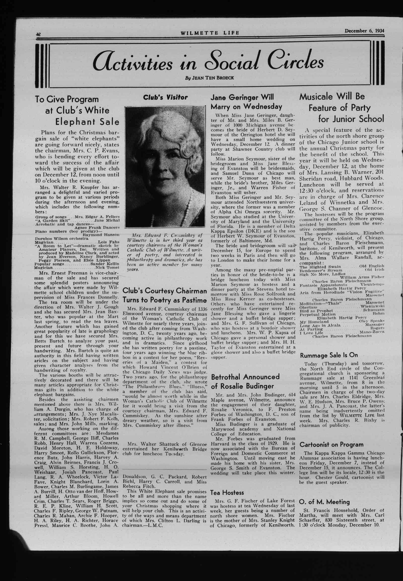 Wilmette Life (Wilmette, Illinois), 6 Dec 1934