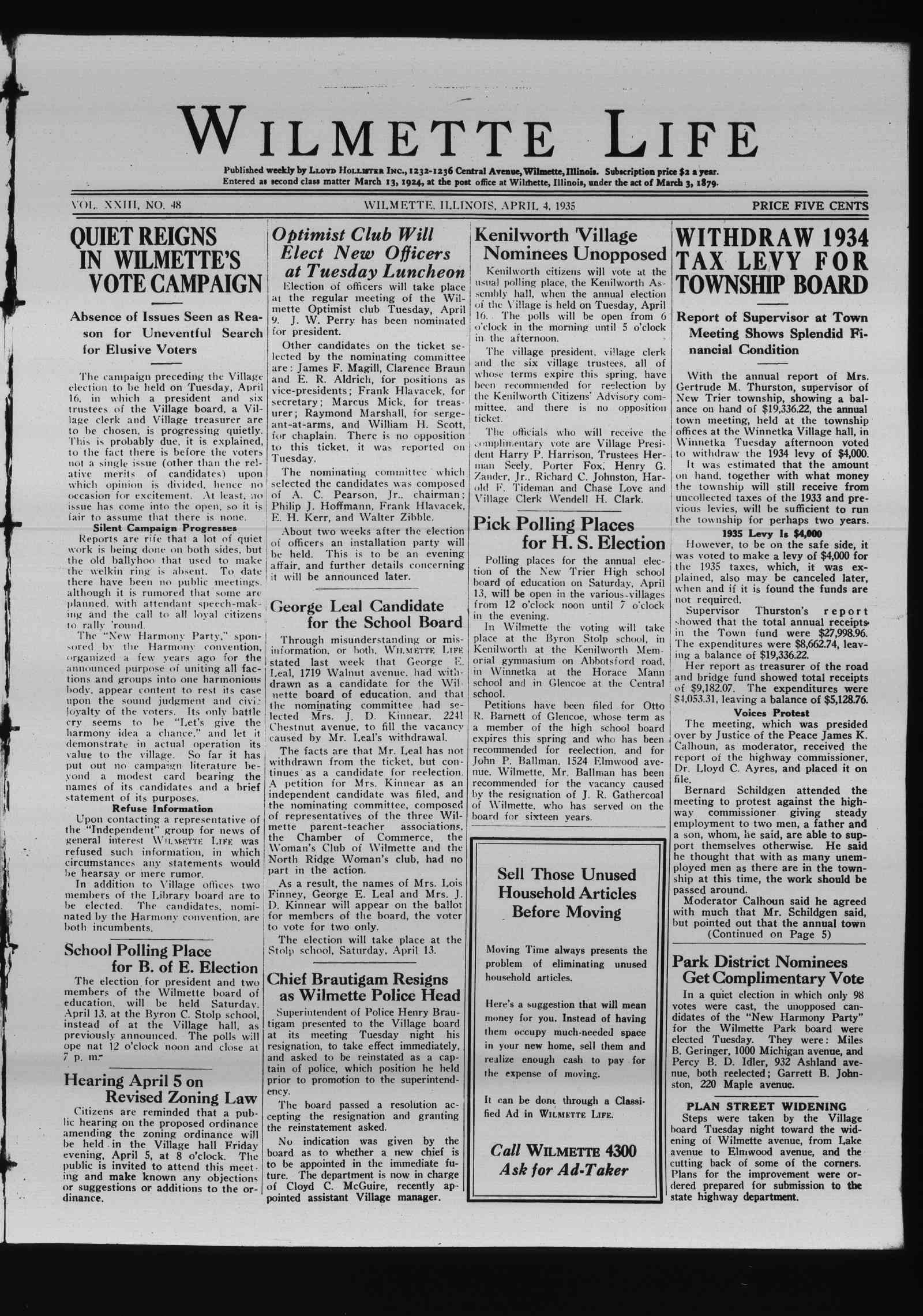 Wilmette Life (Wilmette, Illinois), 4 Apr 1935