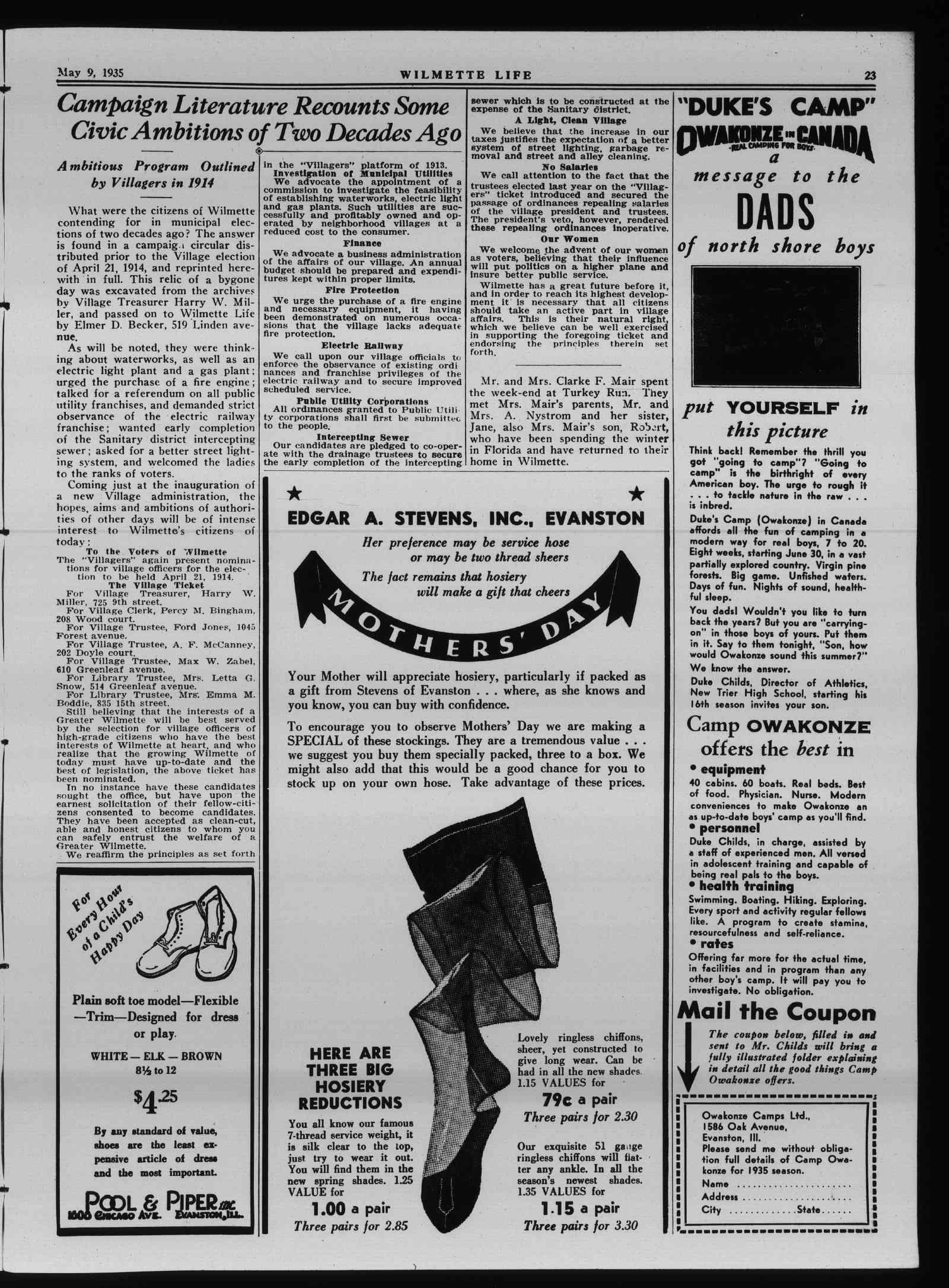 Wilmette Life (Wilmette, Illinois), 9 May 1935