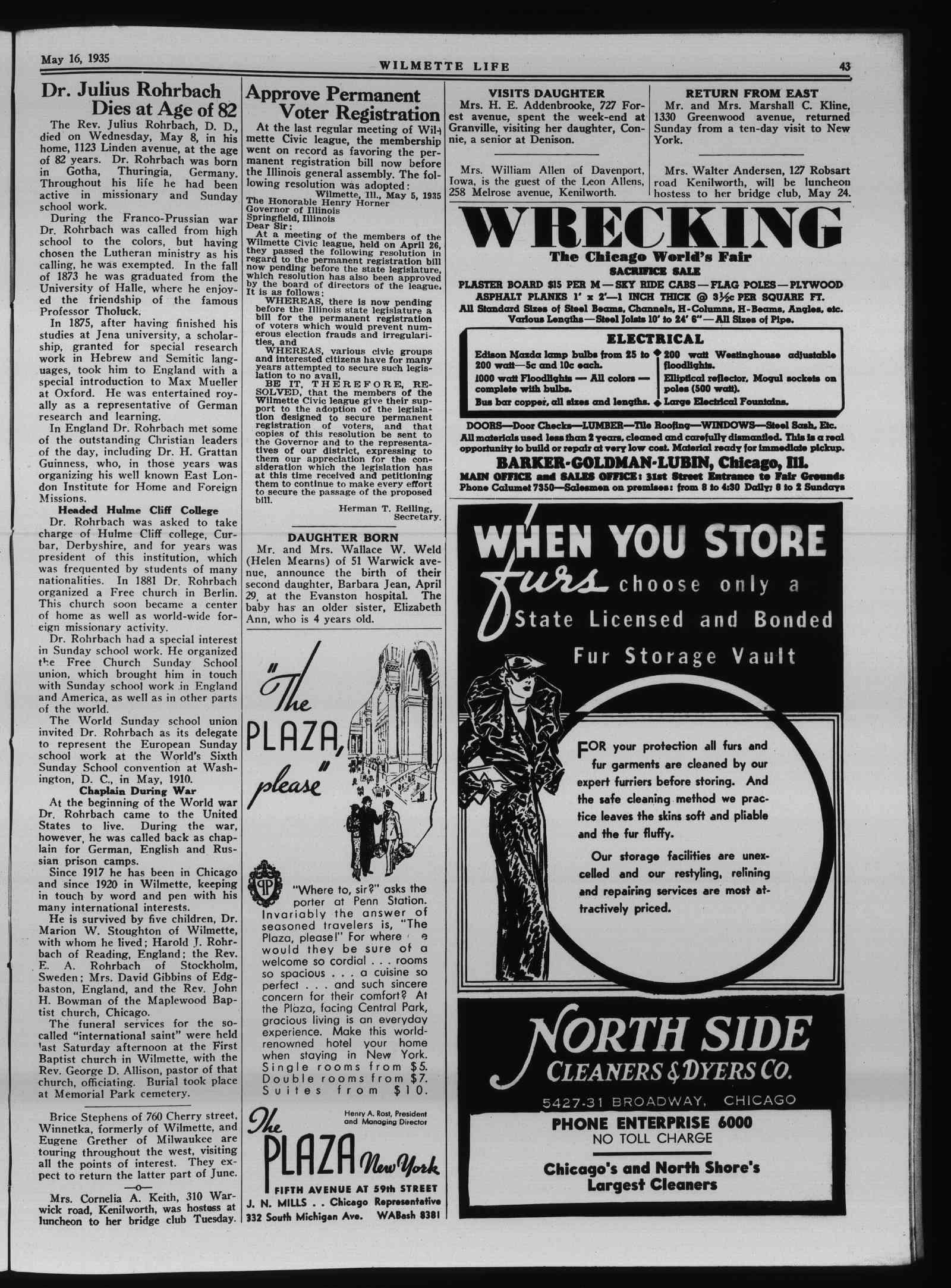 Wilmette Life (Wilmette, Illinois), 16 May 1935