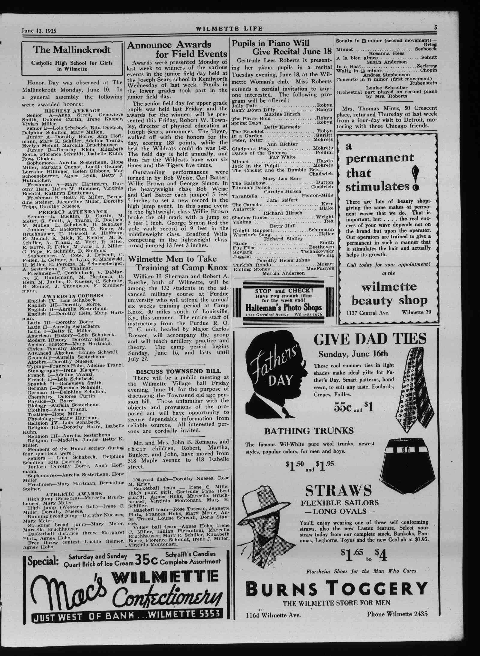 Wilmette Life (Wilmette, Illinois), 13 Jun 1935