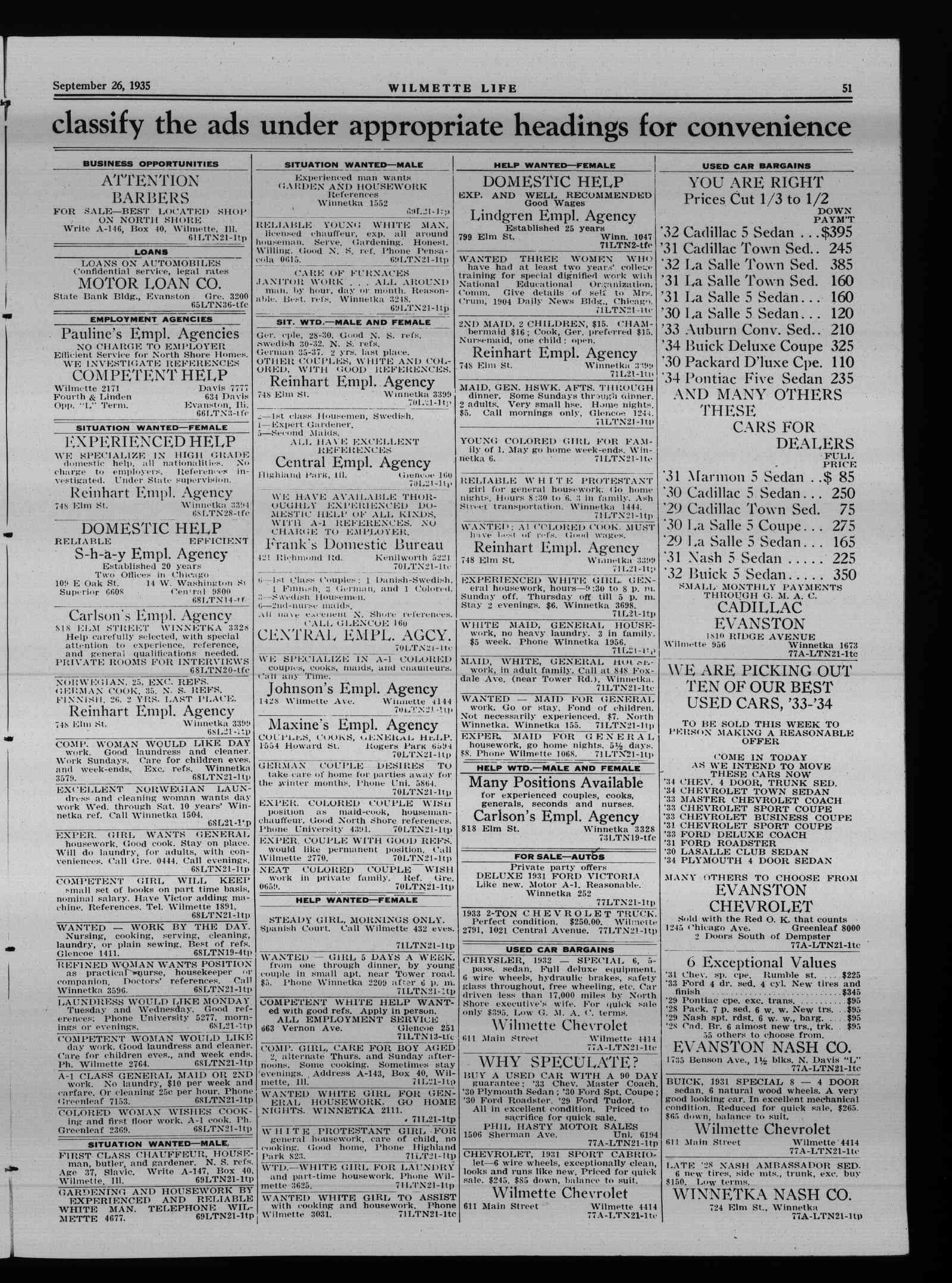 Wilmette Life (Wilmette, Illinois), 26 Sep 1935