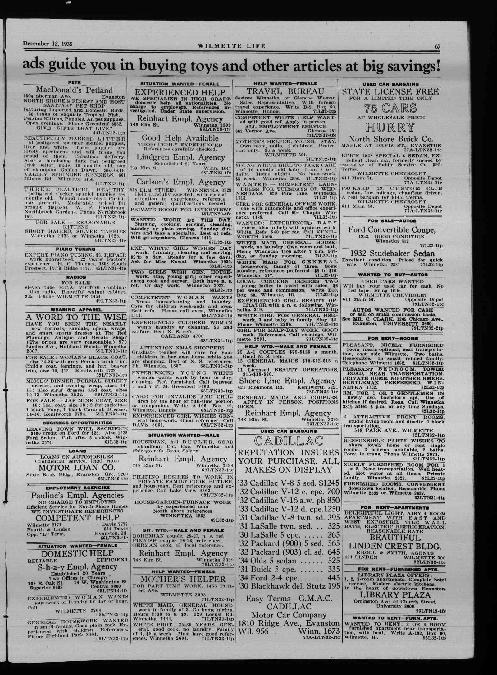 Wilmette Life (Wilmette, Illinois), 12 Dec 1935