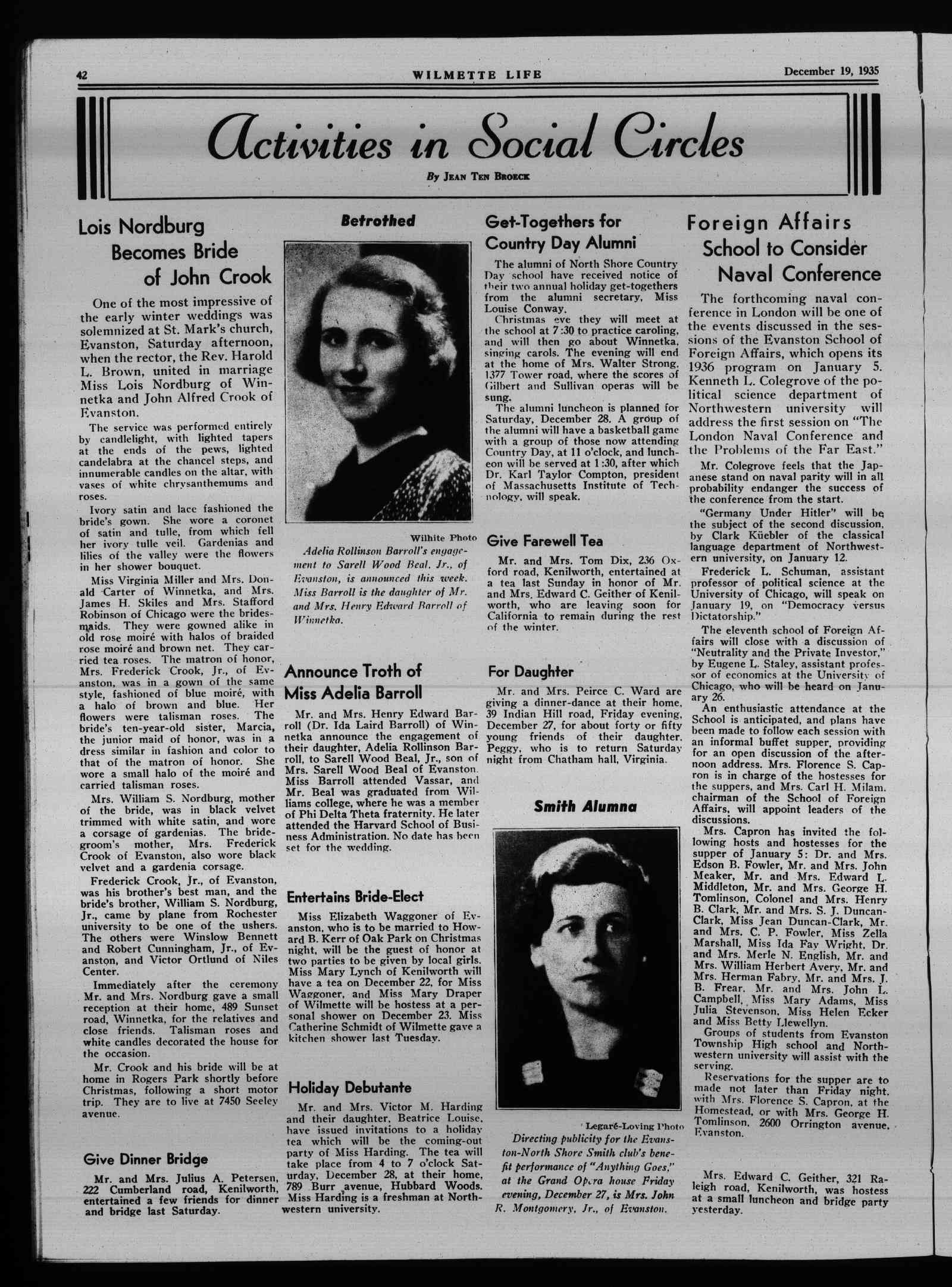 Wilmette Life (Wilmette, Illinois), 19 Dec 1935
