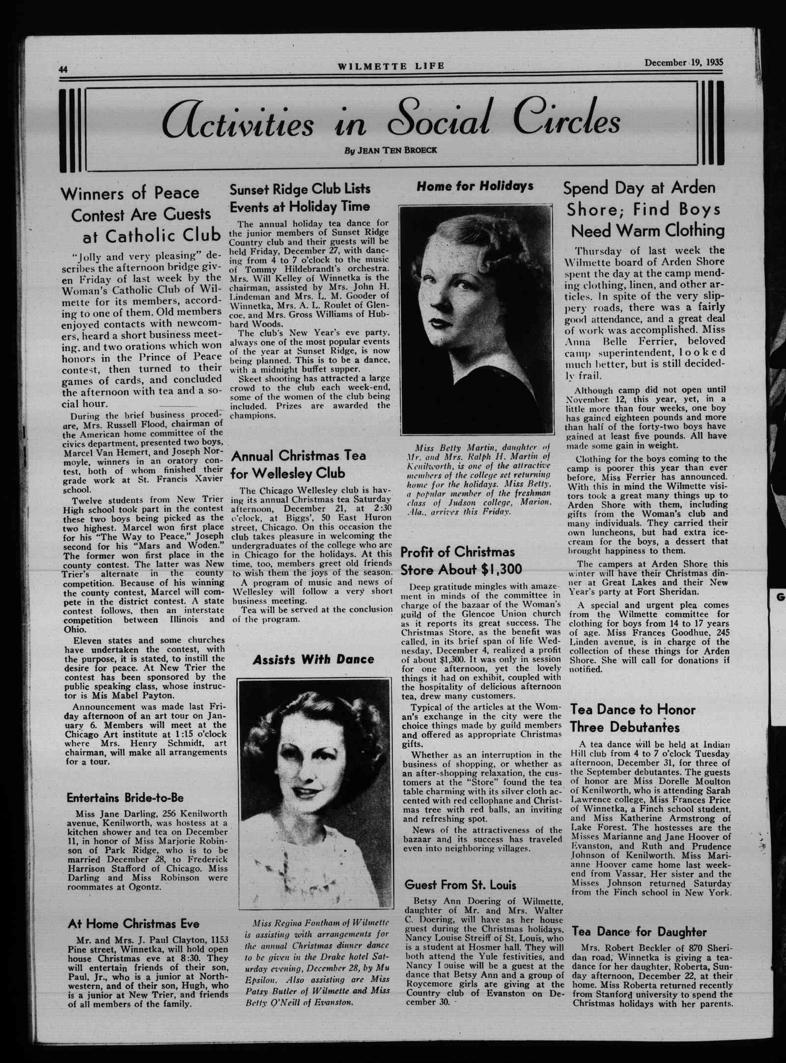 Wilmette Life (Wilmette, Illinois), 19 Dec 1935