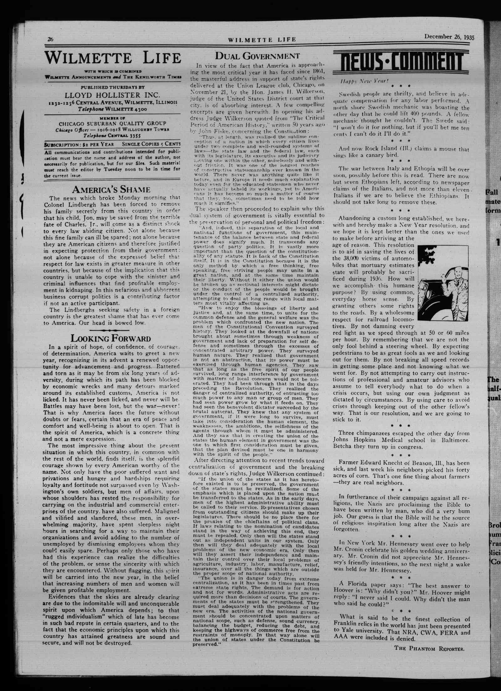 Wilmette Life (Wilmette, Illinois), 26 Dec 1935