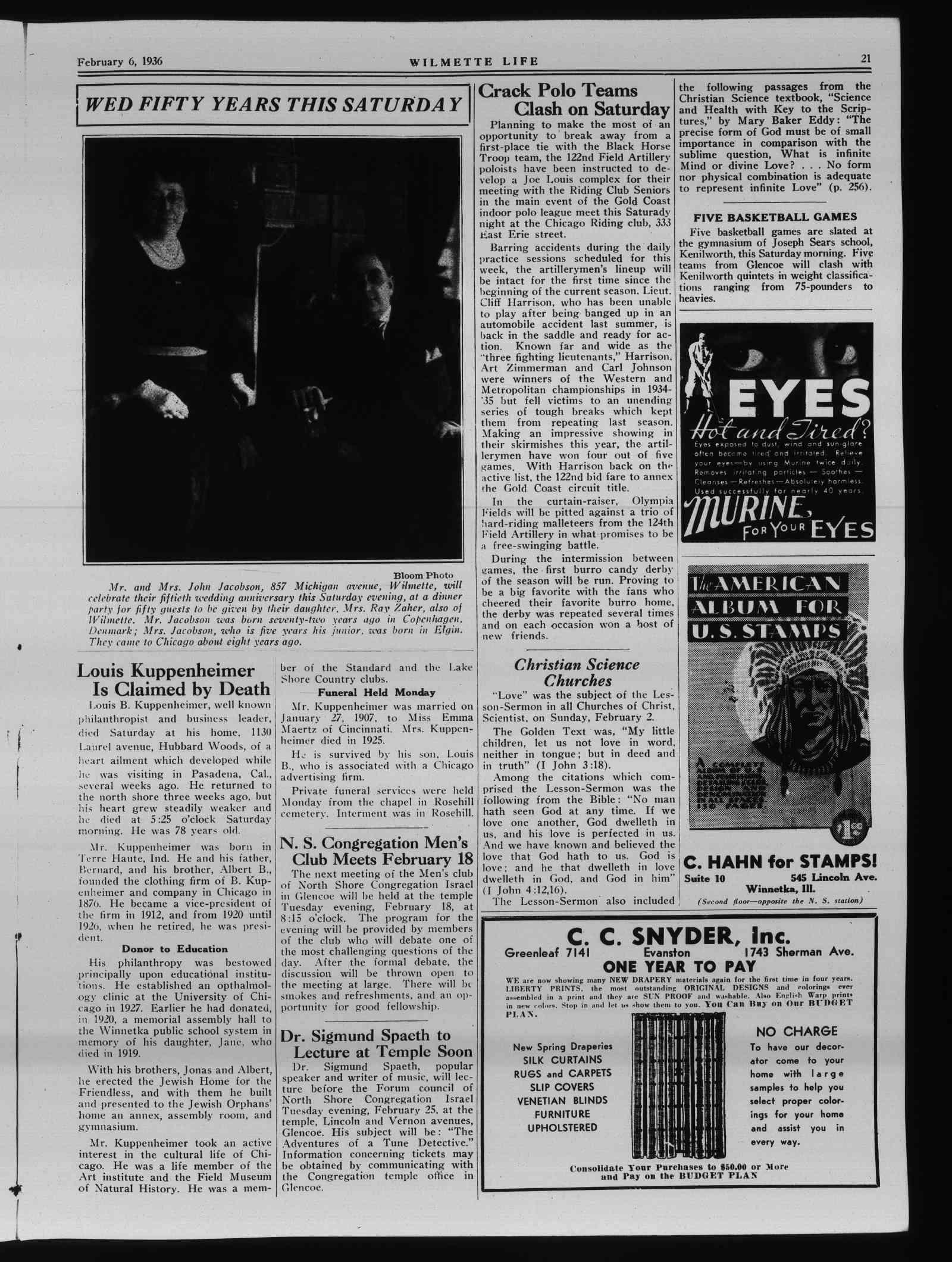 Wilmette Life (Wilmette, Illinois), 6 Feb 1936