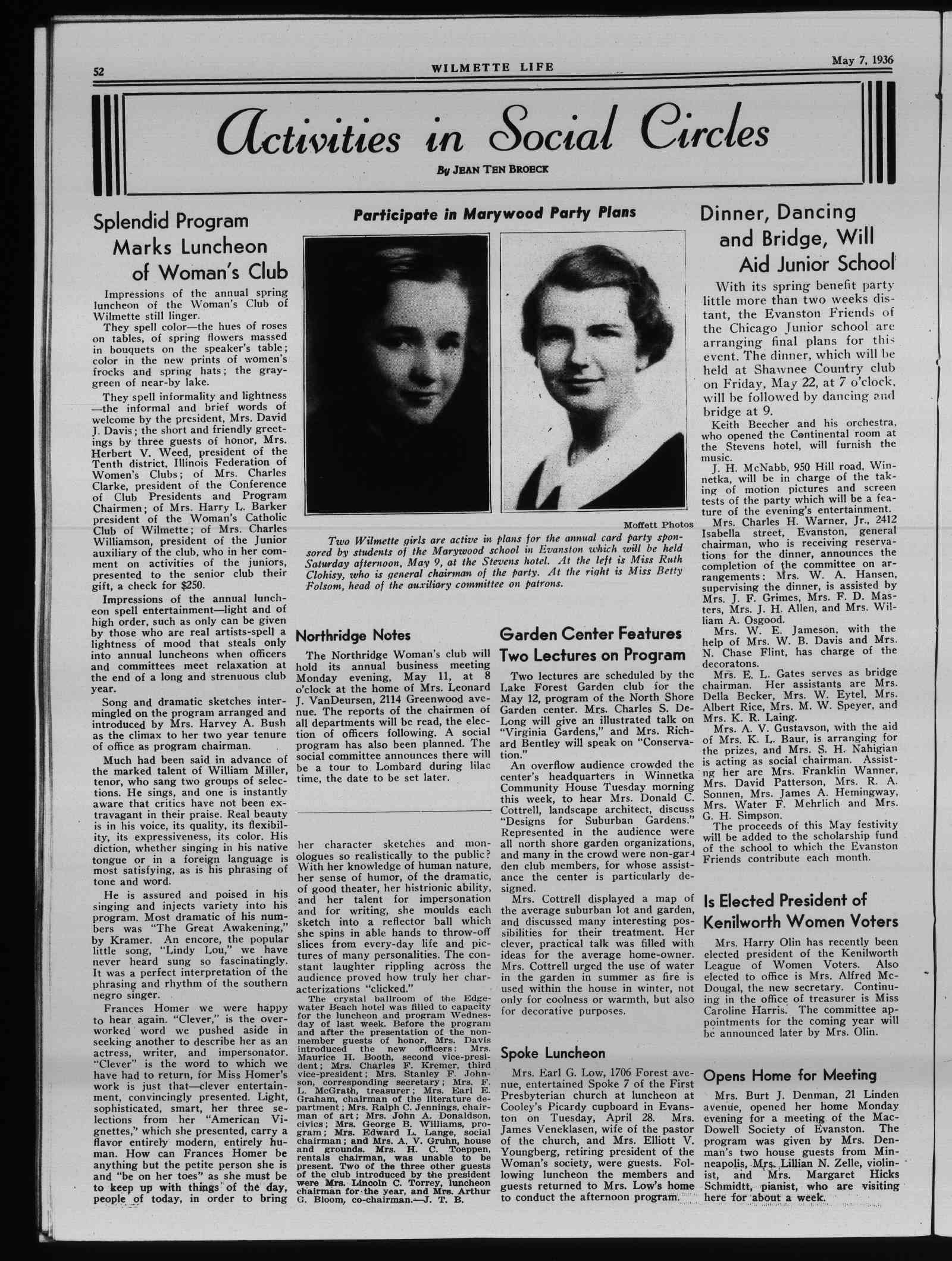 Wilmette Life (Wilmette, Illinois), 7 May 1936