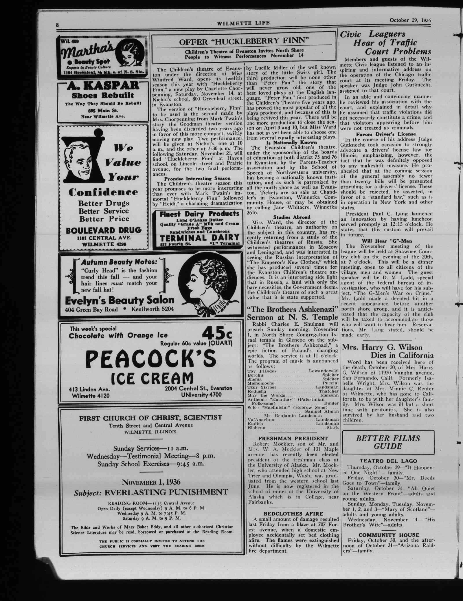 Wilmette Life (Wilmette, Illinois), 29 Oct 1936