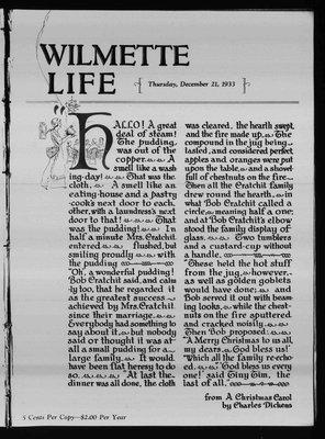 Wilmette Life (Wilmette, Illinois), 21 Dec 1933
