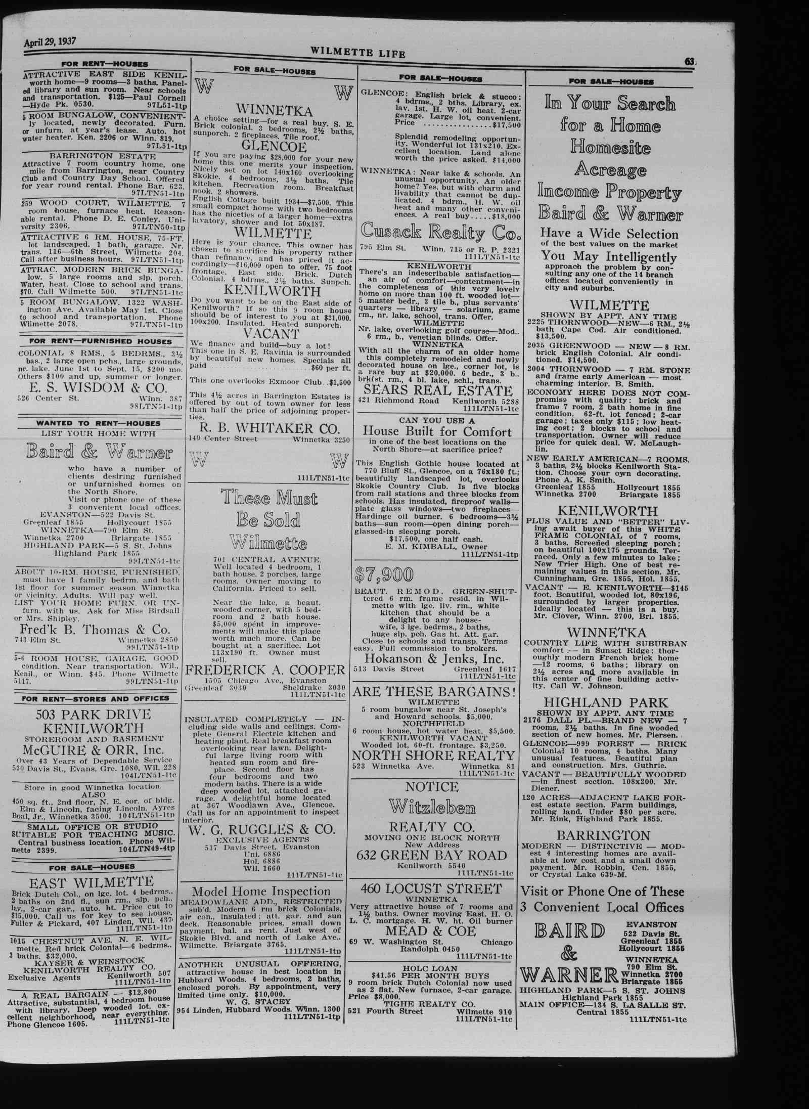 Wilmette Life (Wilmette, Illinois), 29 Apr 1937