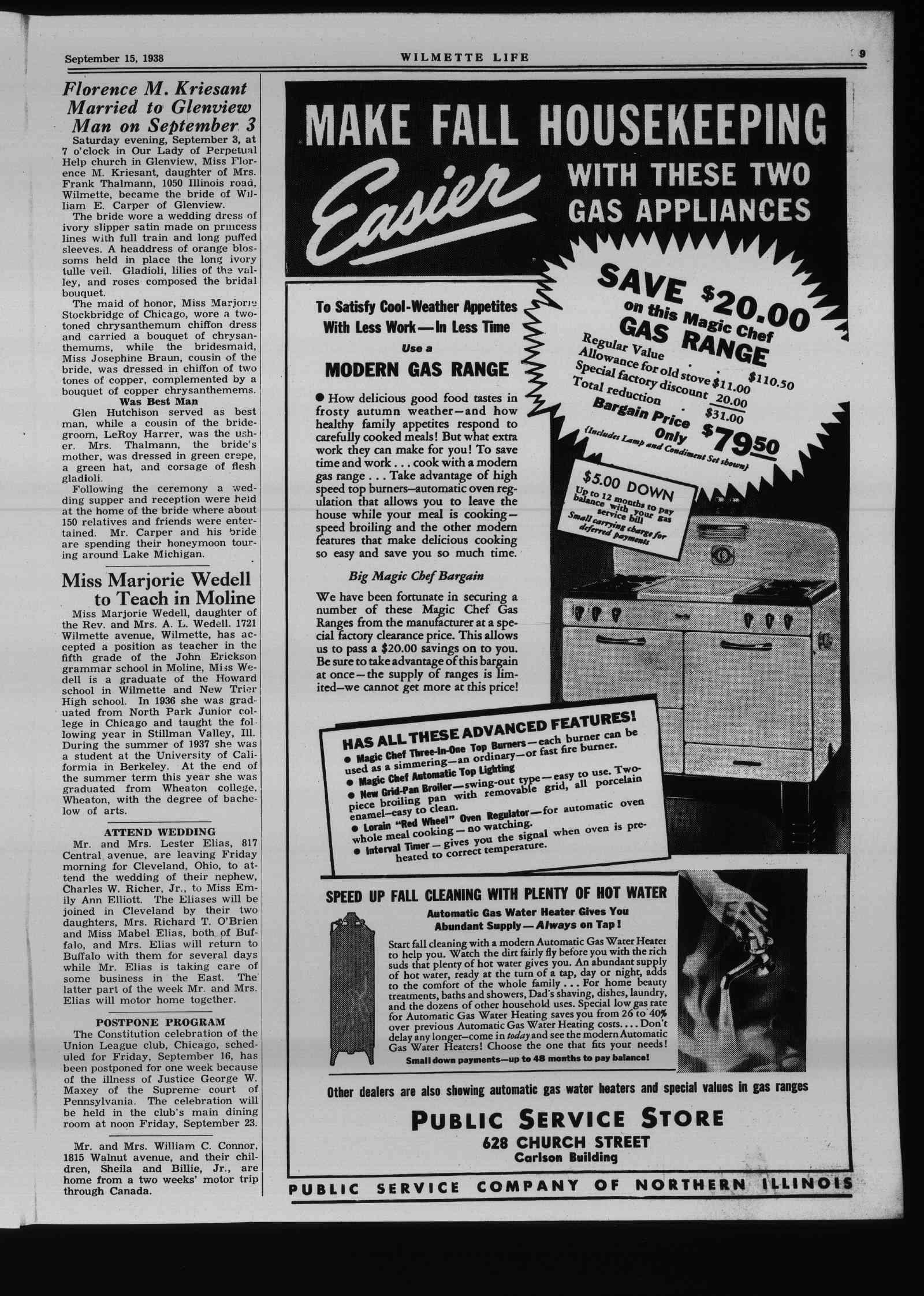 Wilmette Life (Wilmette, Illinois), 15 Sep 1938