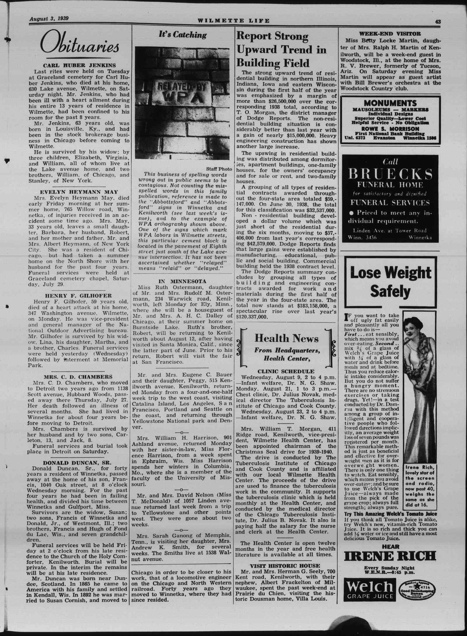 Wilmette Life (Wilmette, Illinois), 3 Aug 1939