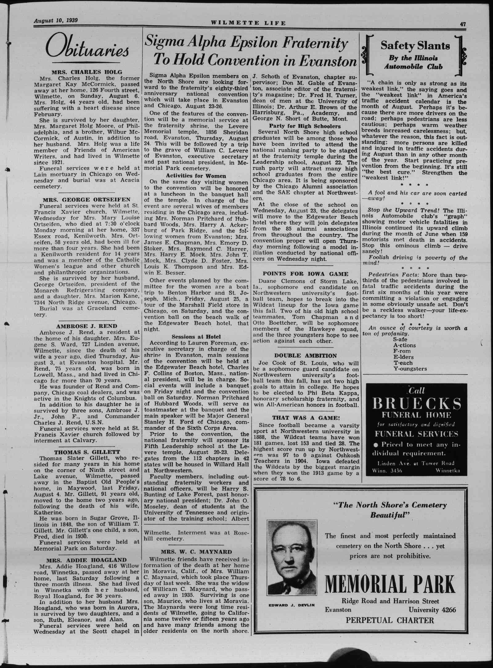 Wilmette Life (Wilmette, Illinois), 10 Aug 1939