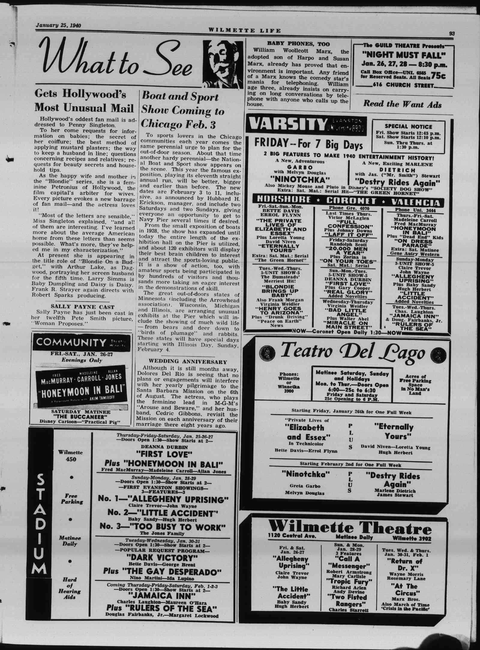 Wilmette Life (Wilmette, Illinois), 25 Jan 1940
