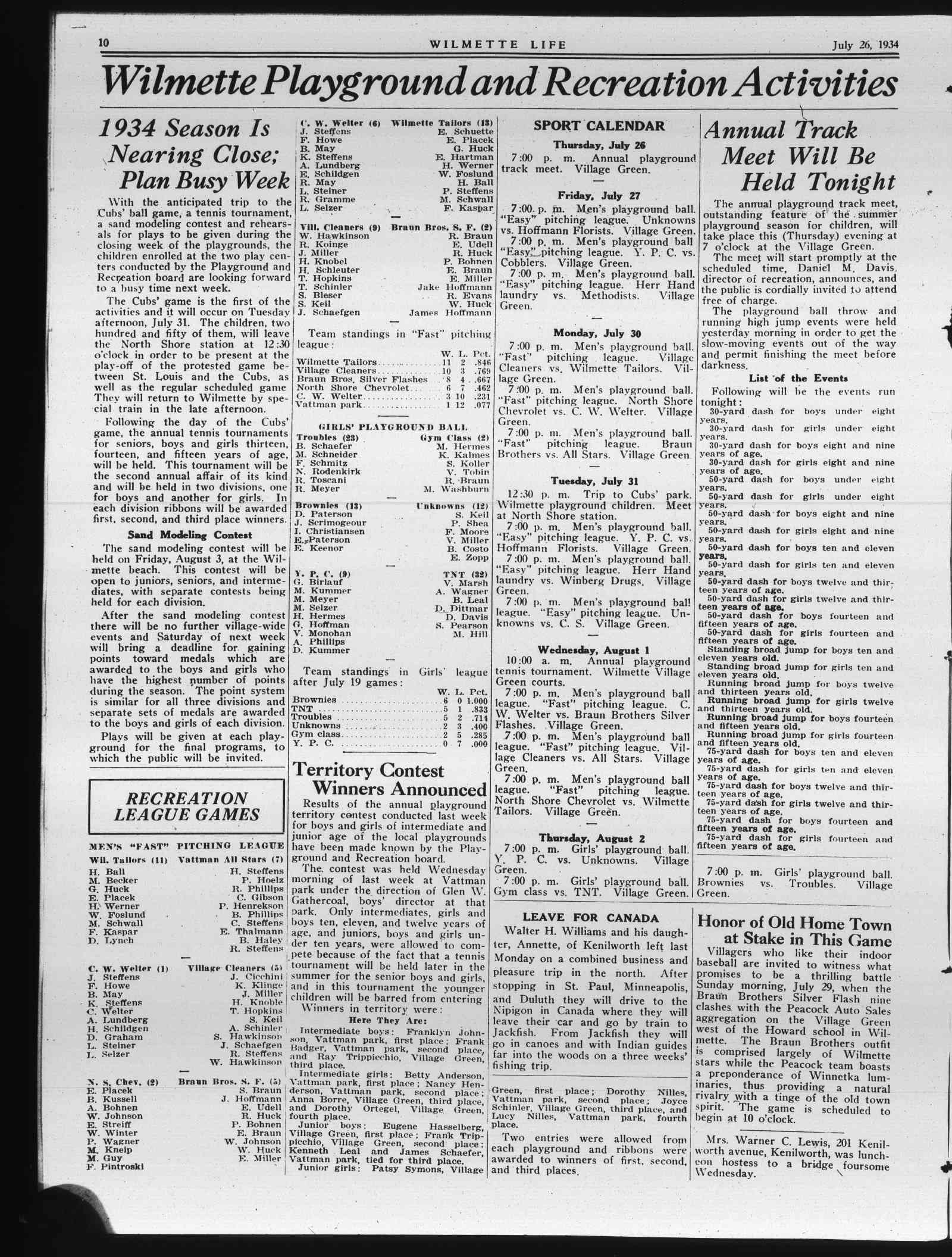 Wilmette Life (Wilmette, Illinois), 26 Jul 1934
