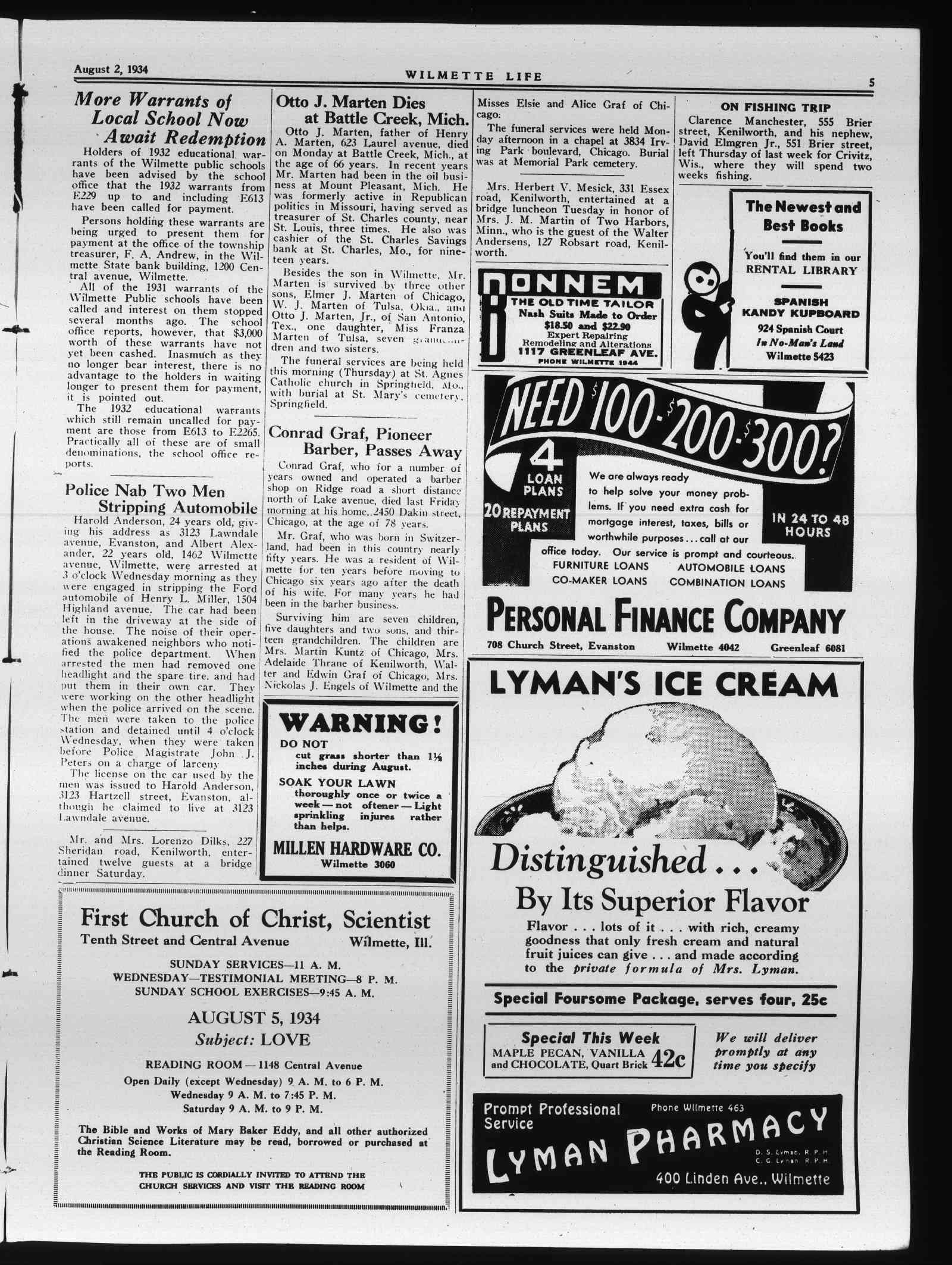 Wilmette Life (Wilmette, Illinois), 2 Aug 1934