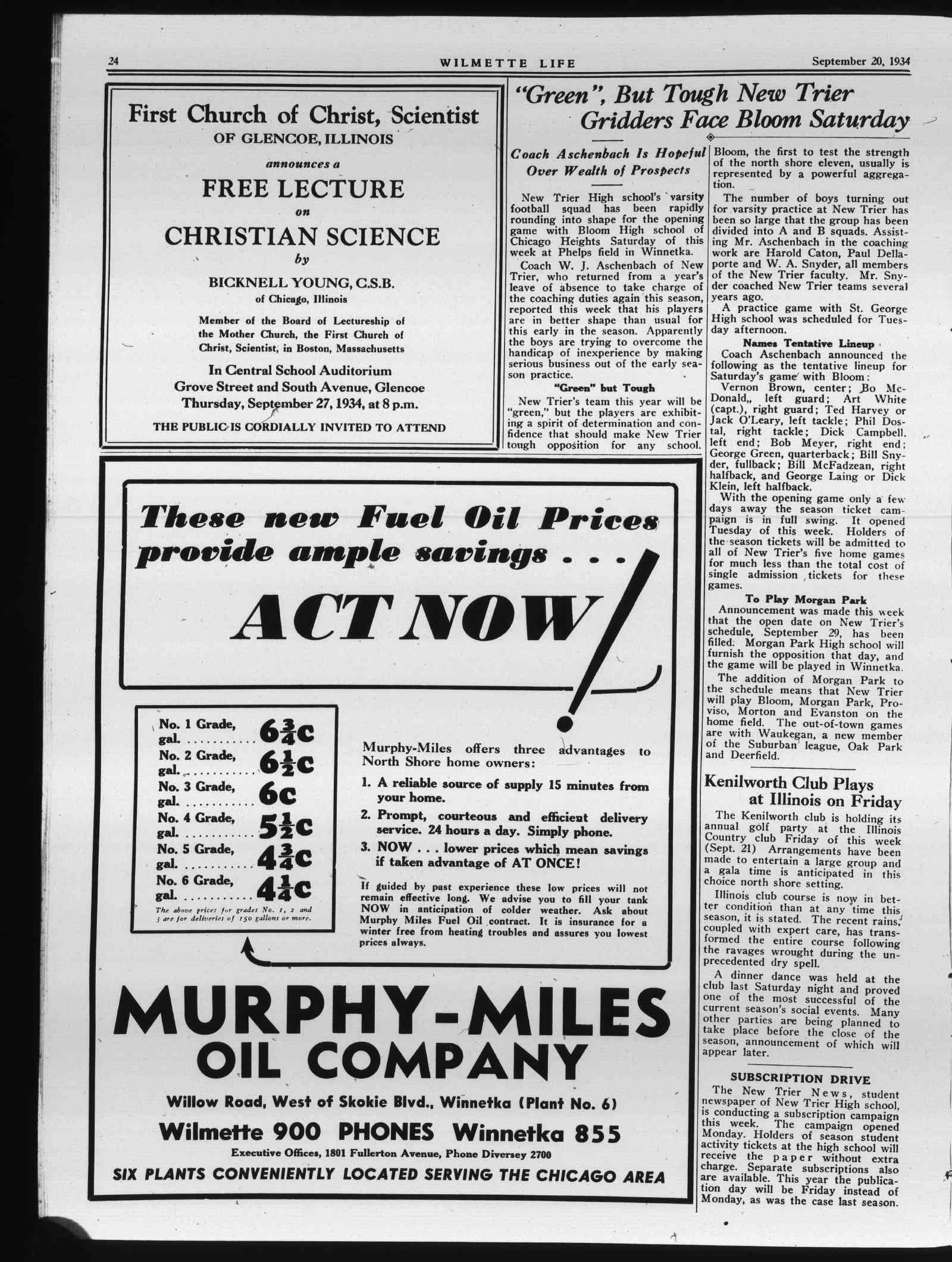 Wilmette Life (Wilmette, Illinois), 20 Sep 1934