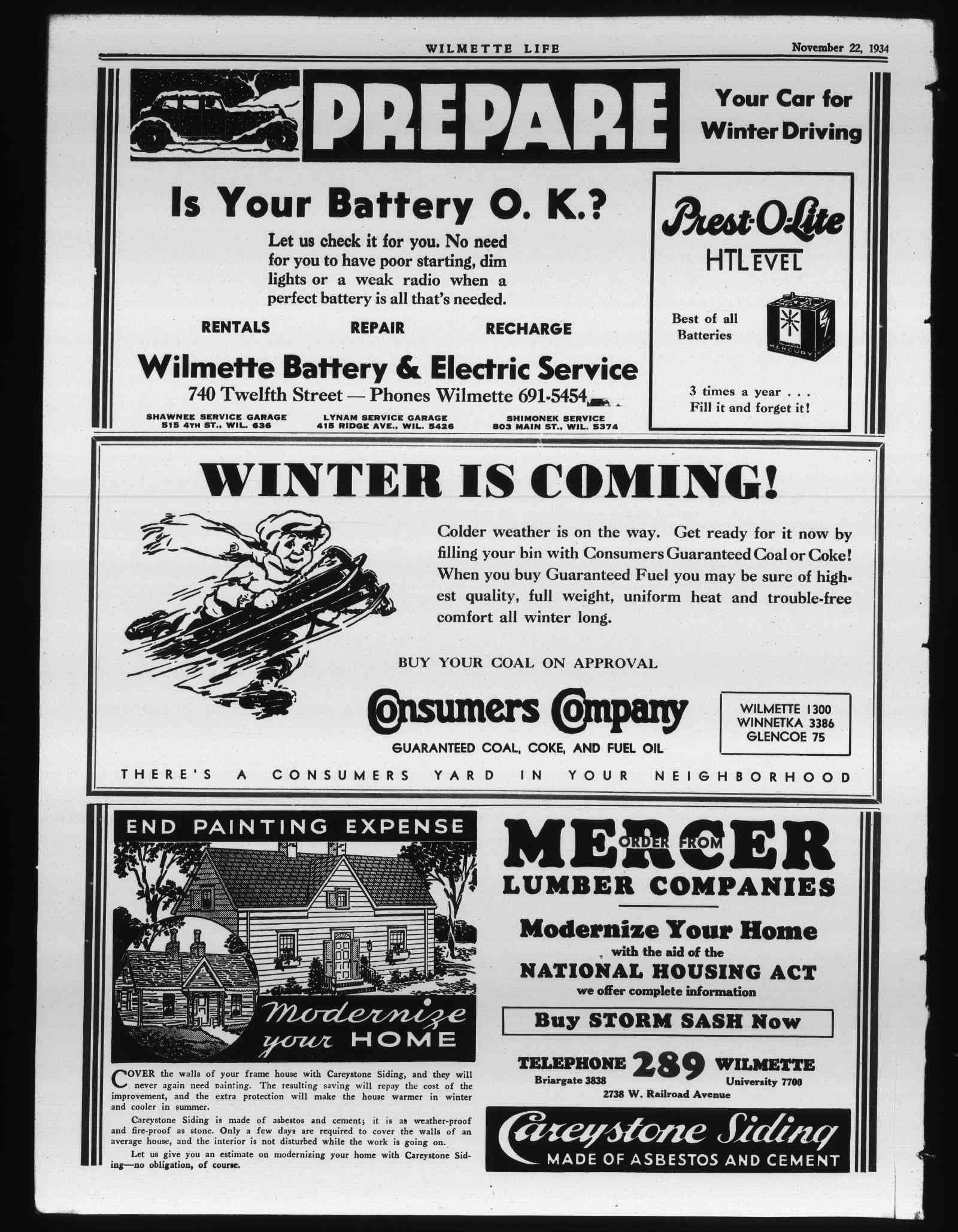 Wilmette Life (Wilmette, Illinois), 22 Nov 1934