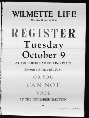 Wilmette Life (Wilmette, Illinois), 4 Oct 1934
