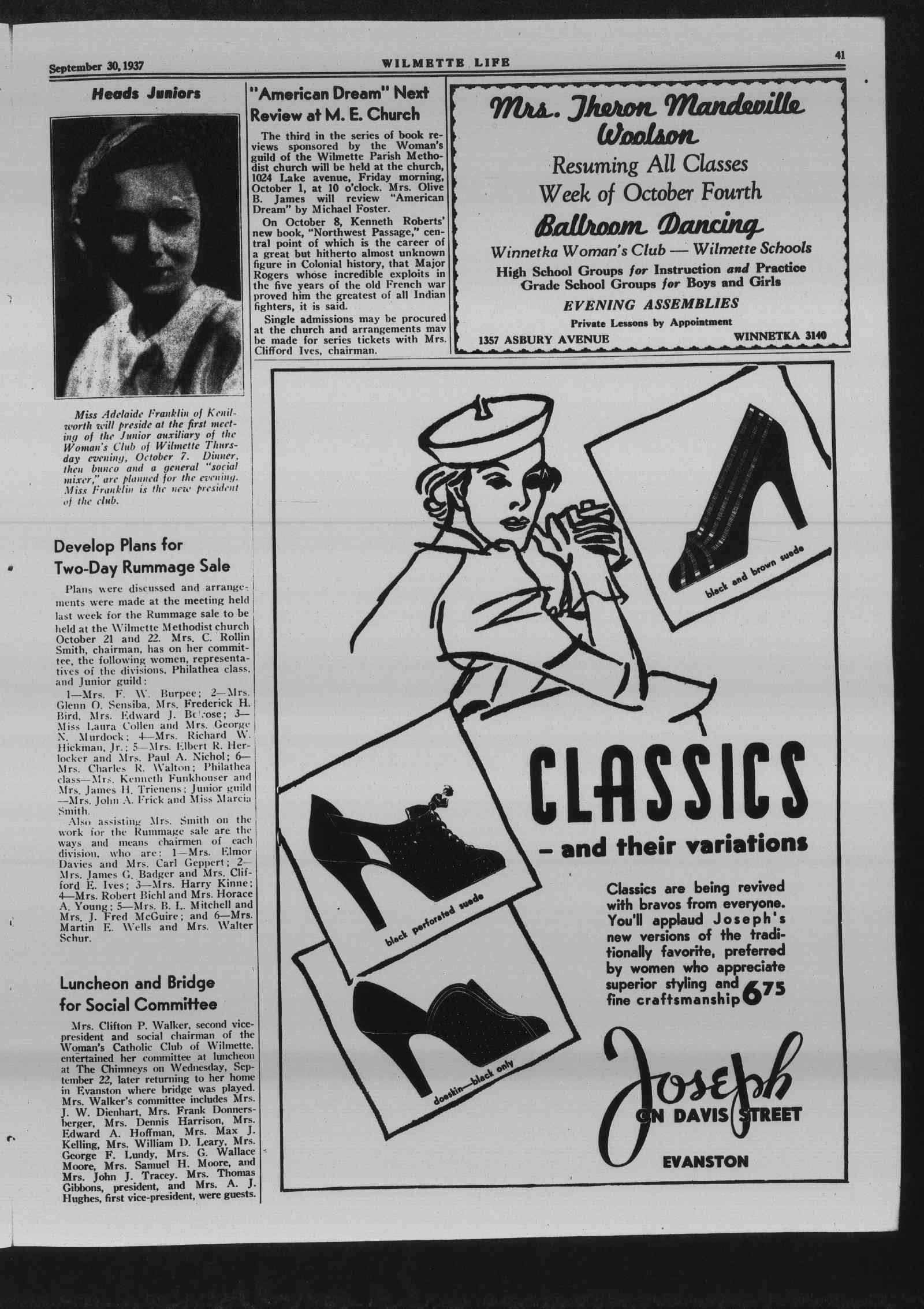 Wilmette Life (Wilmette, Illinois), 30 Sep 1937