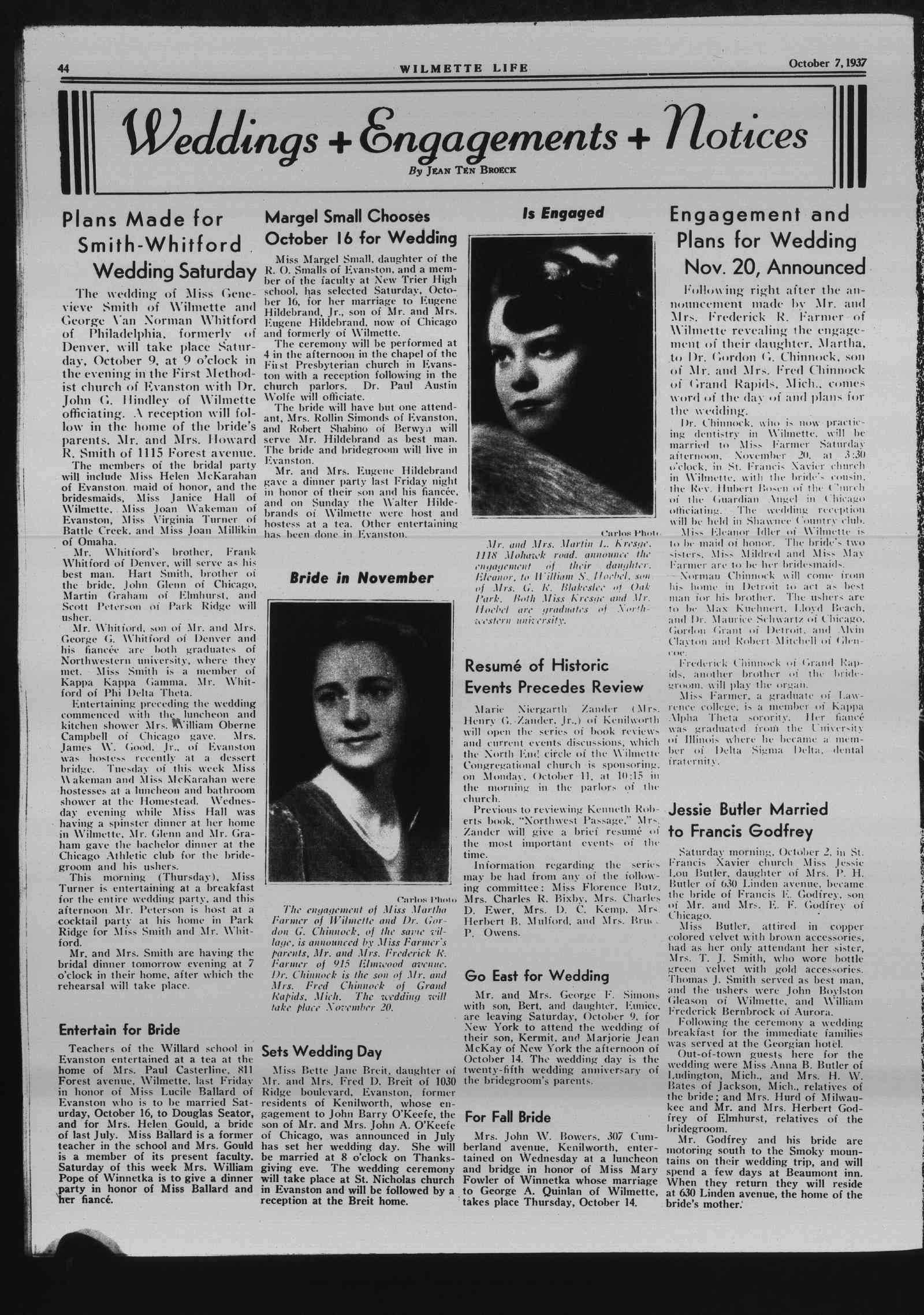 Wilmette Life (Wilmette, Illinois), 7 Oct 1937