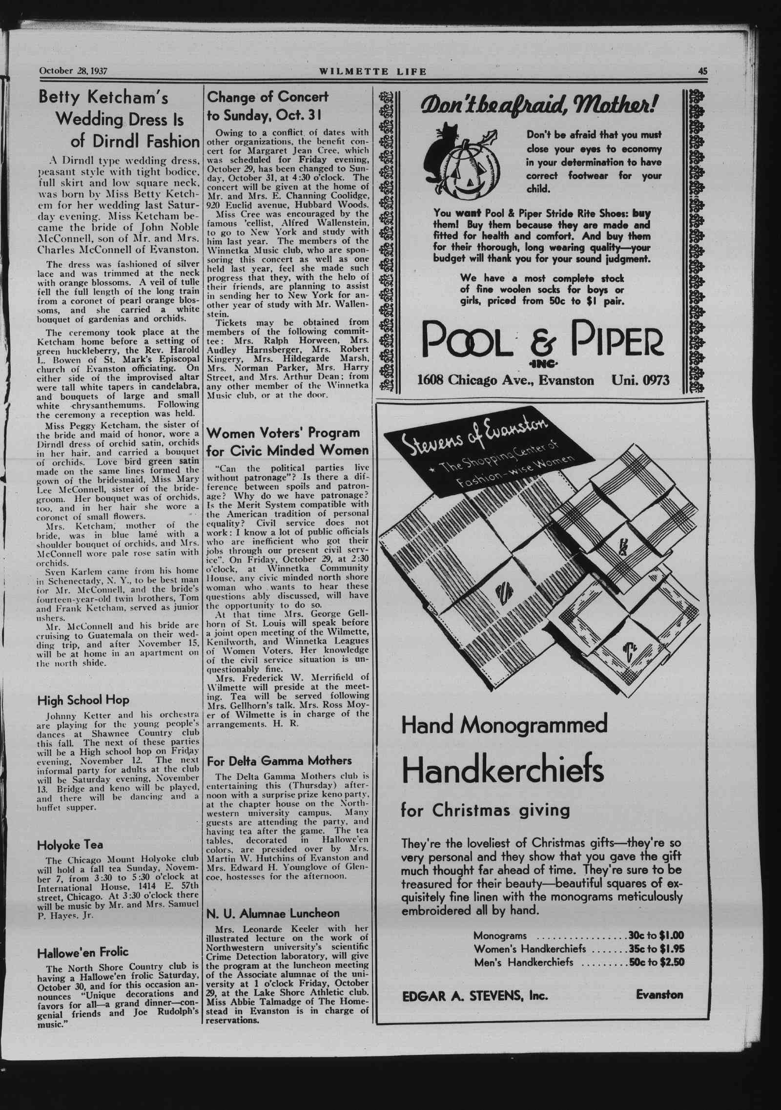 Wilmette Life (Wilmette, Illinois), 28 Oct 1937