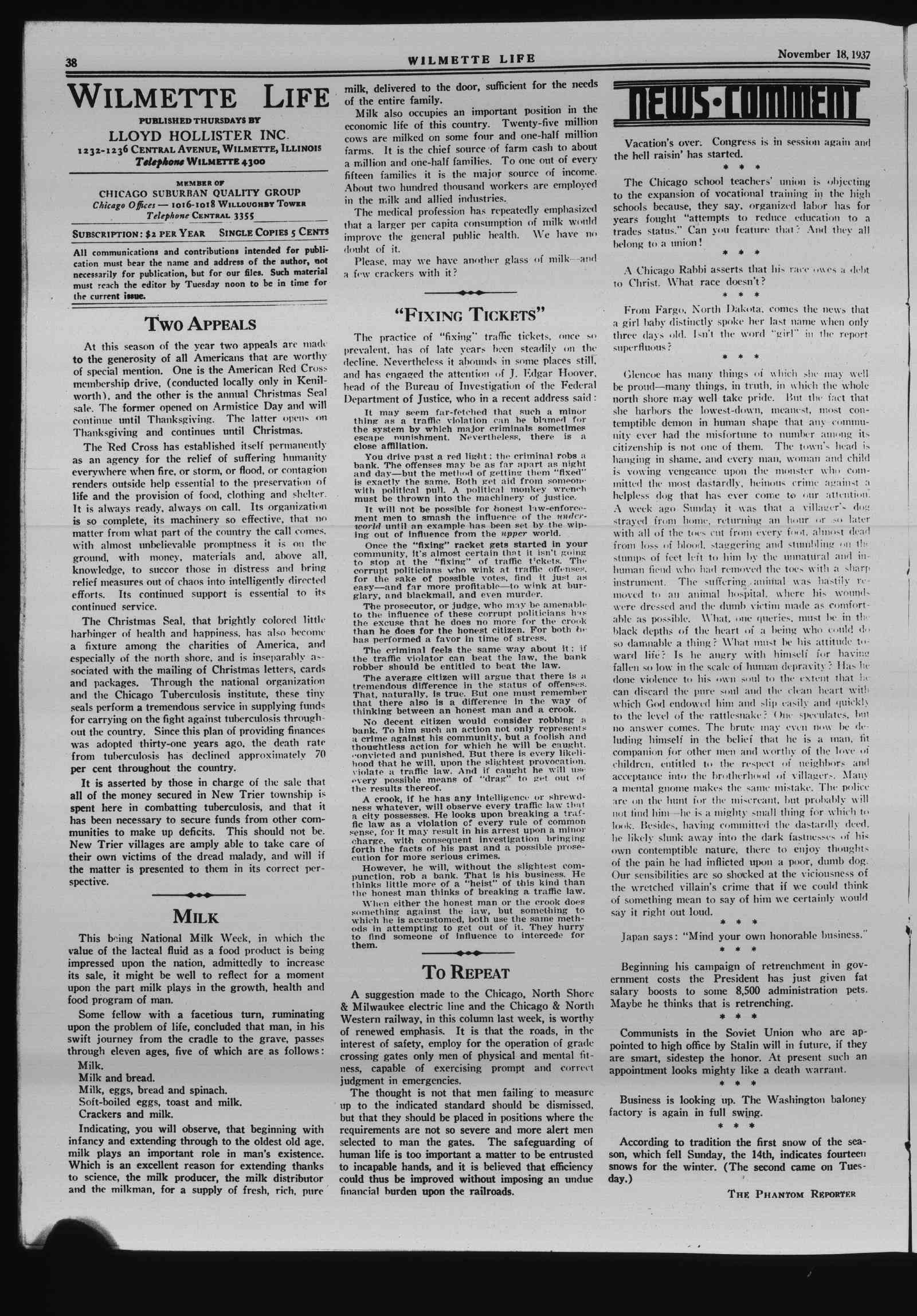 Wilmette Life (Wilmette, Illinois), 18 Nov 1937