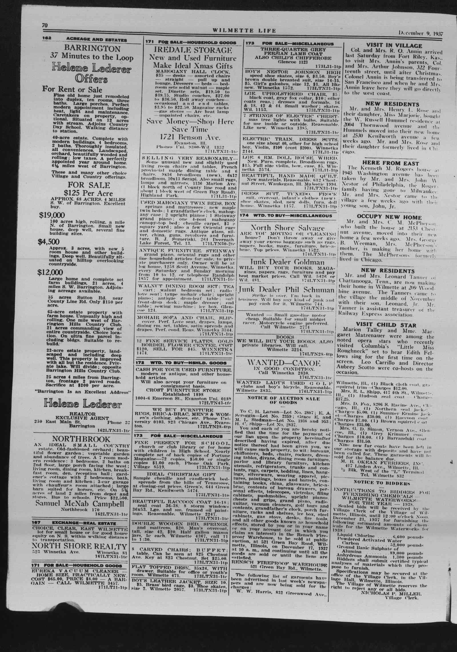 Wilmette Life (Wilmette, Illinois), 9 Dec 1937