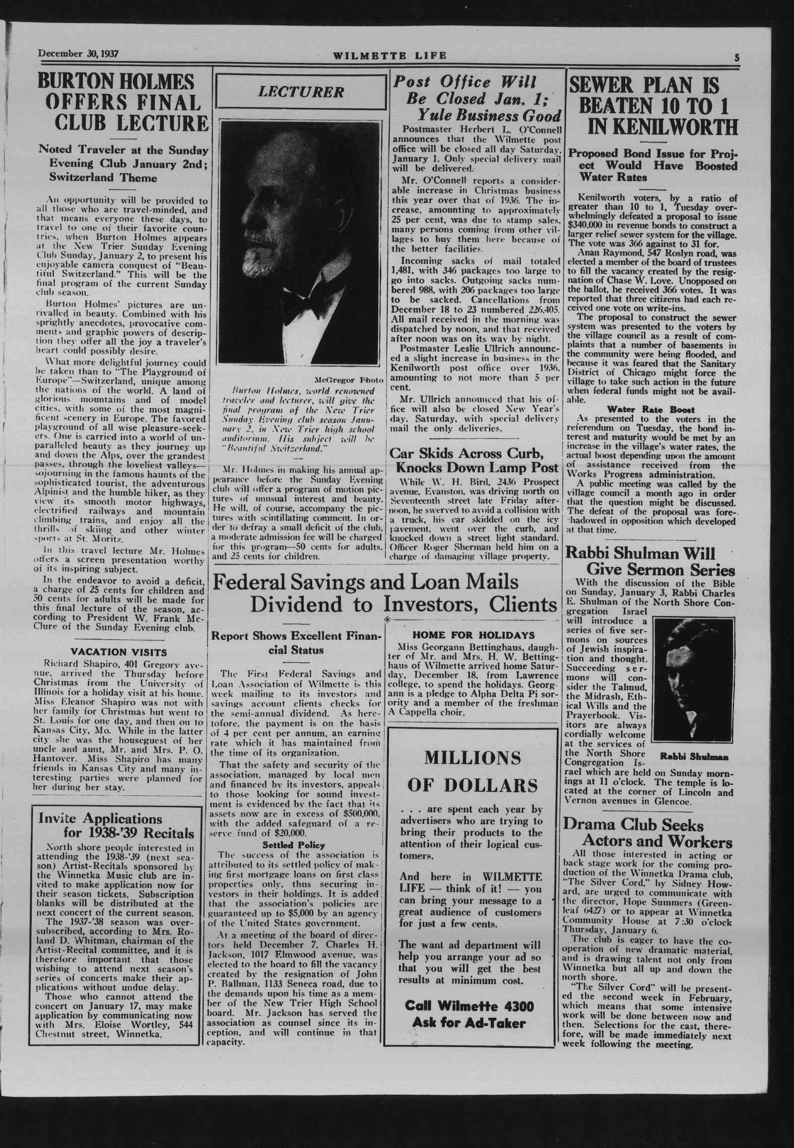 Wilmette Life (Wilmette, Illinois), 30 Dec 1937