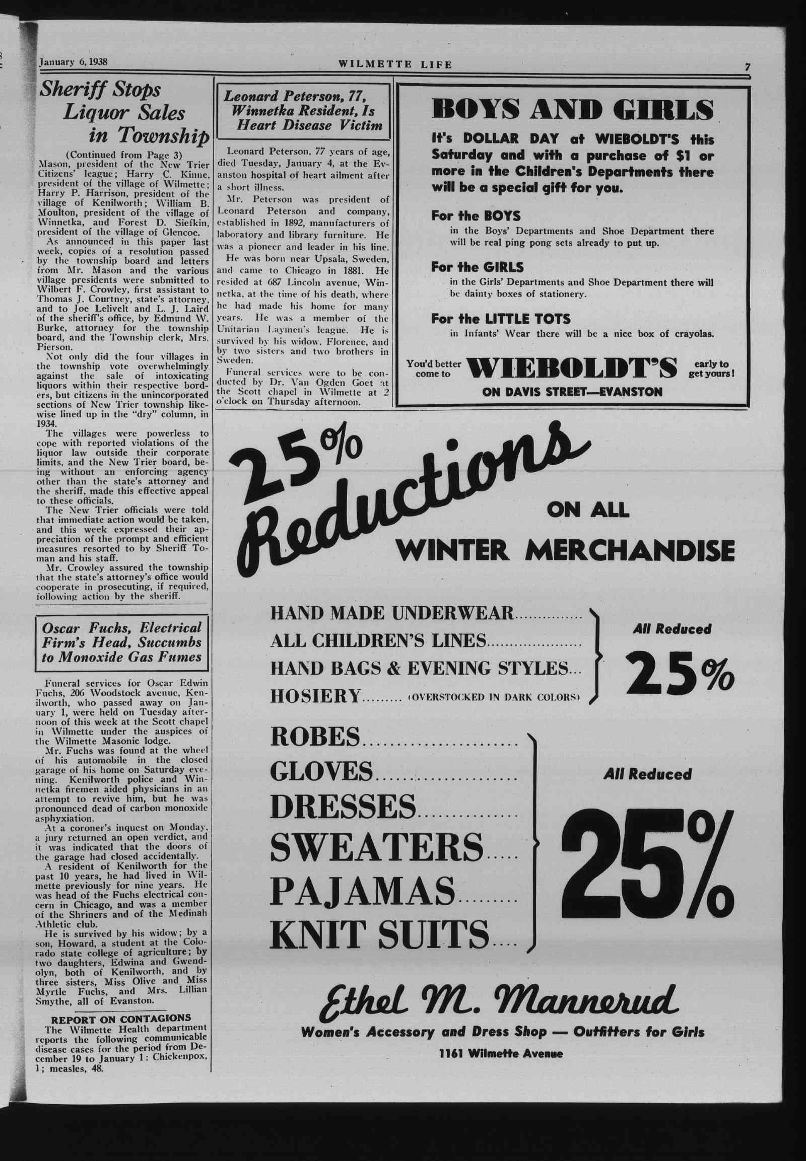 Wilmette Life (Wilmette, Illinois), 6 Jan 1938
