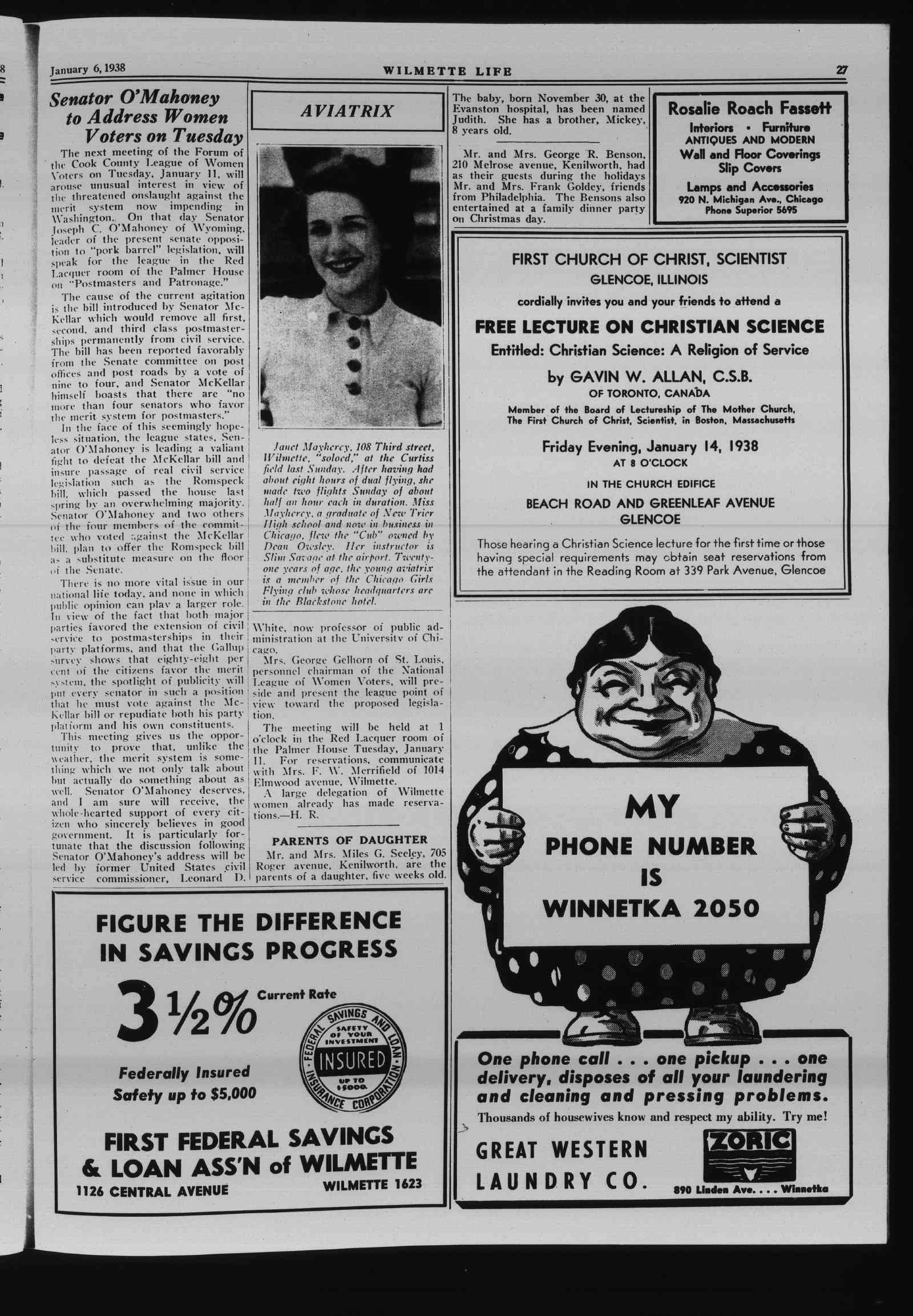 Wilmette Life (Wilmette, Illinois), 6 Jan 1938