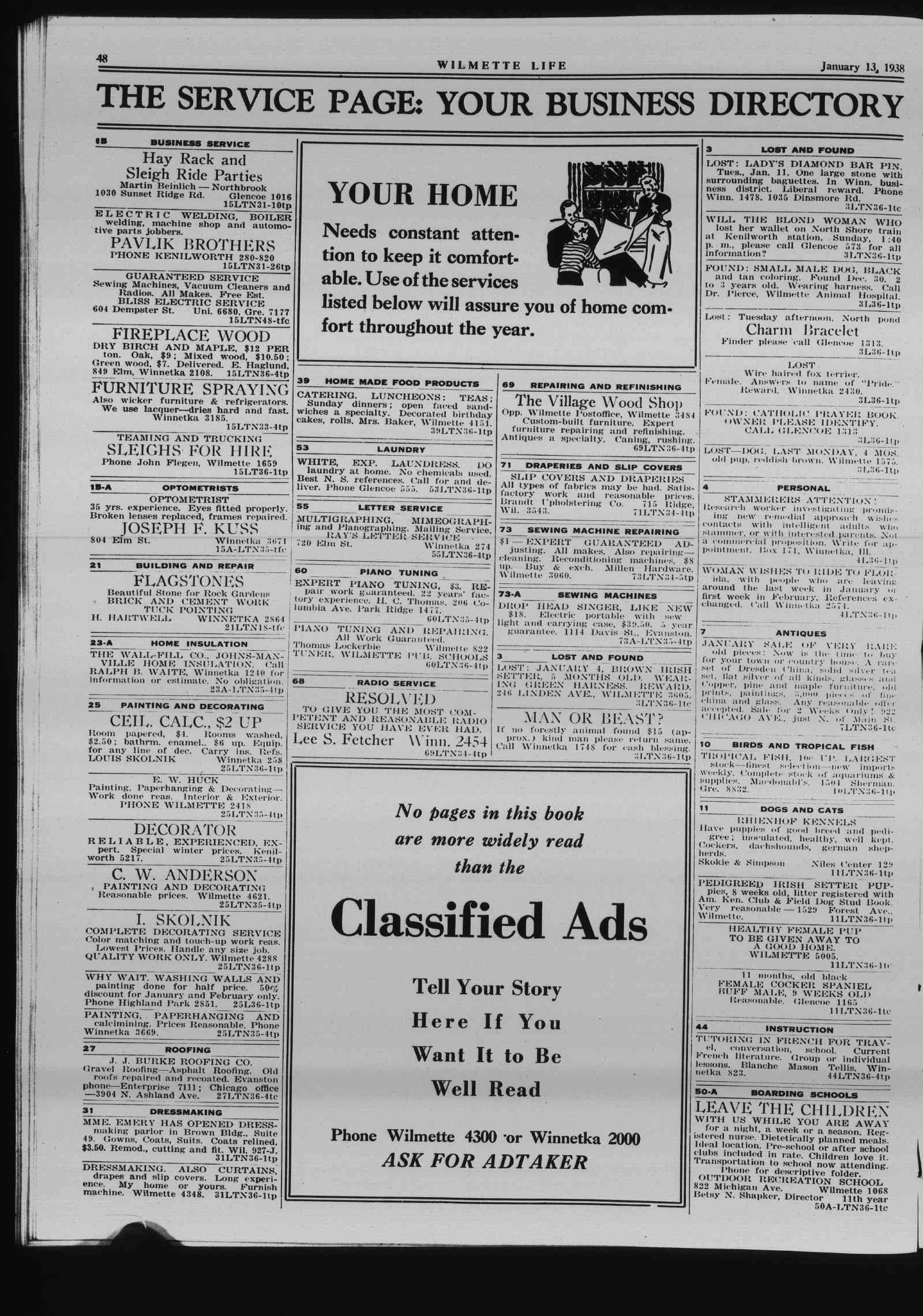 Wilmette Life (Wilmette, Illinois), 13 Jan 1938