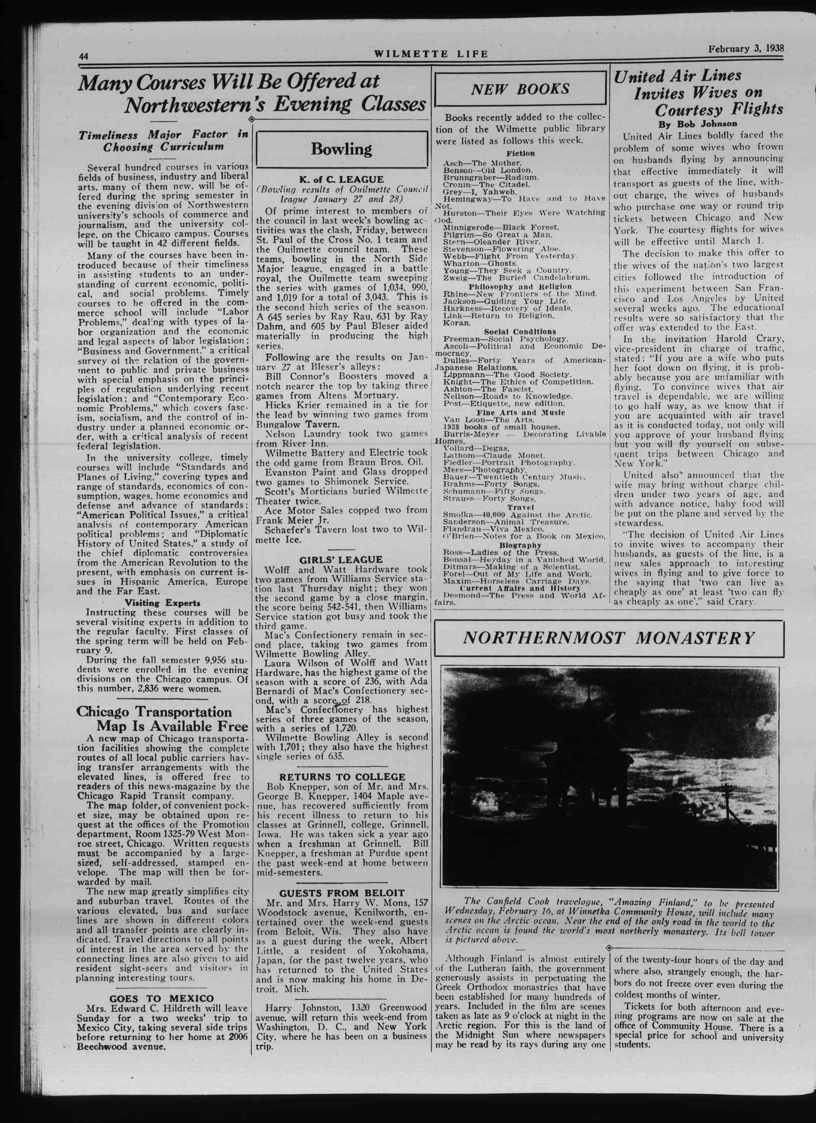 Wilmette Life (Wilmette, Illinois), 3 Feb 1938