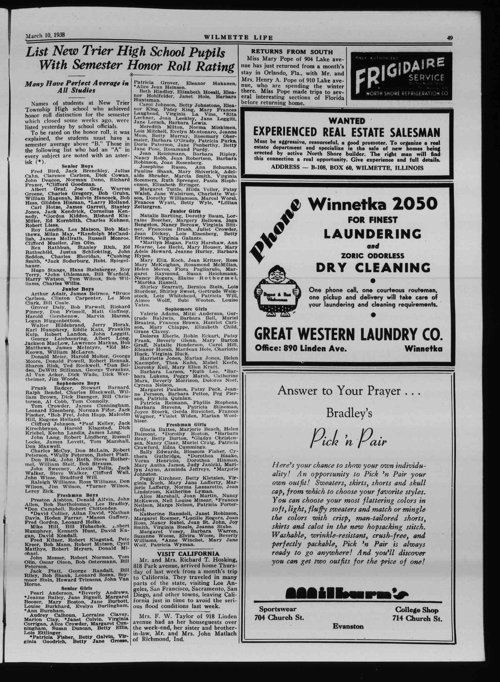 Wilmette Life (Wilmette, Illinois), 10 Mar 1938