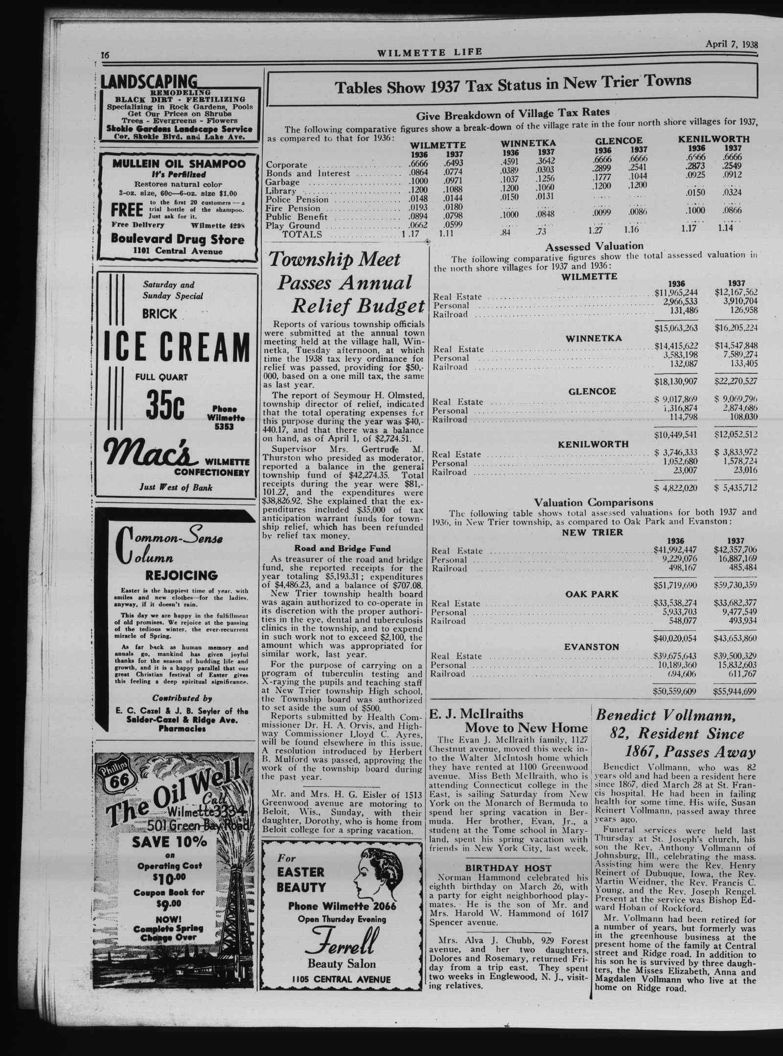 Wilmette Life (Wilmette, Illinois), 7 Apr 1938