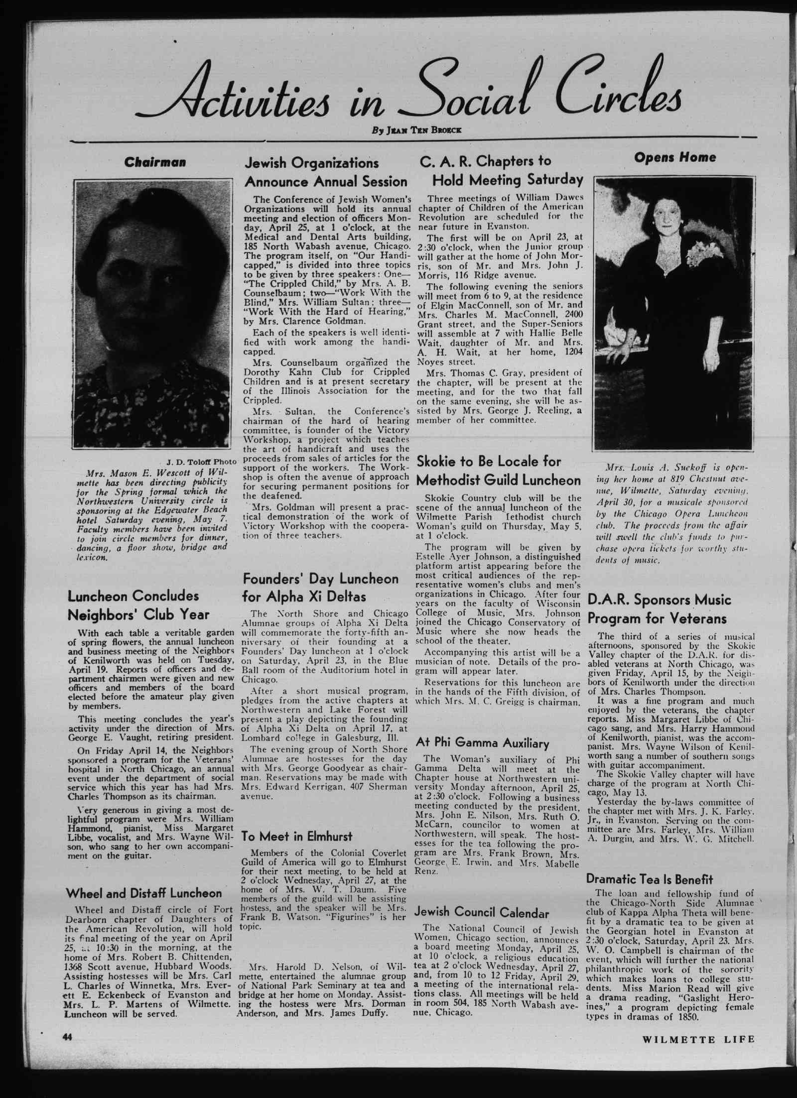 Wilmette Life (Wilmette, Illinois), 21 Apr 1938